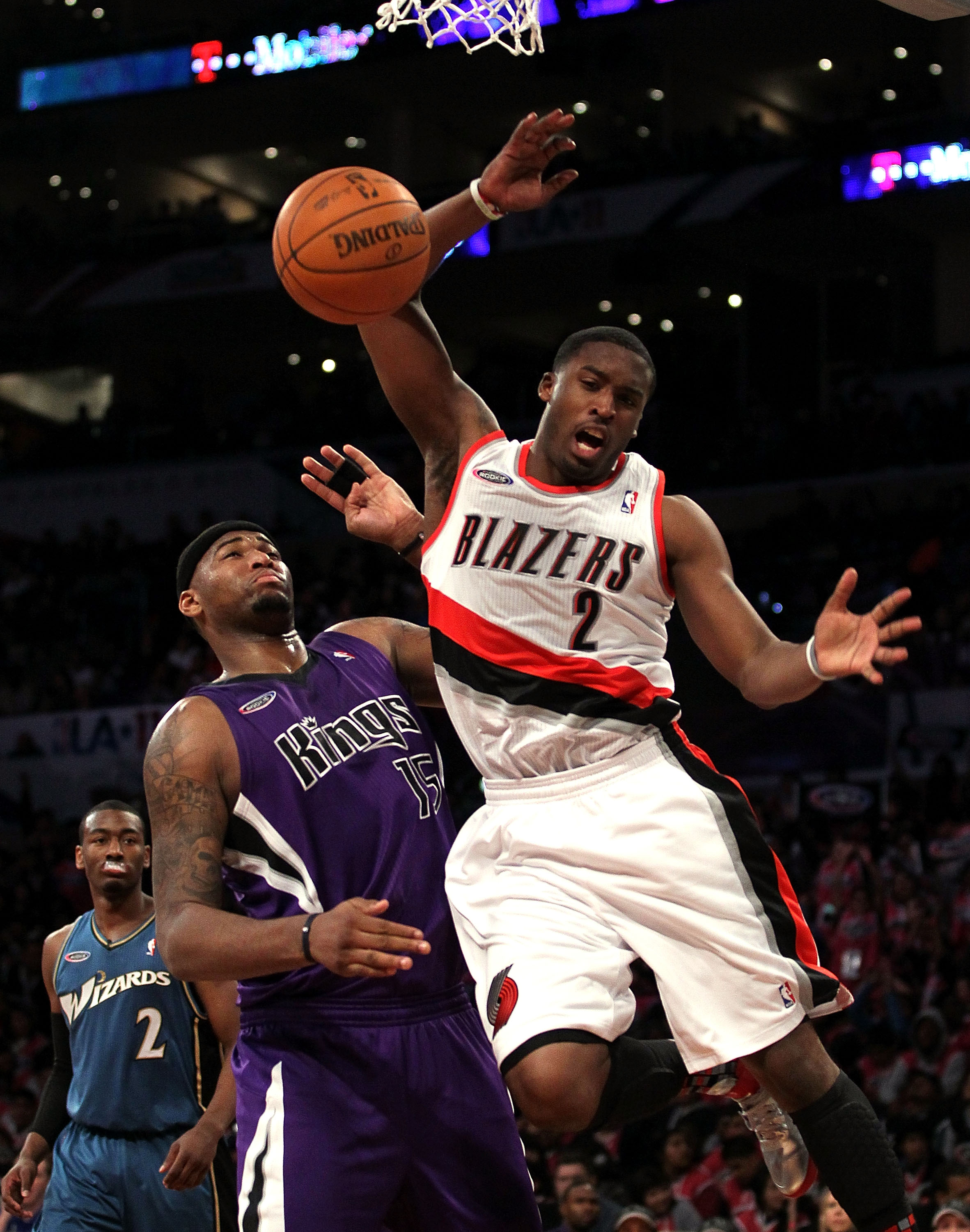LOS ANGELES, CA - FEBRUARY 18:  Wesley Matthews #2 of the Portland Trailblazers and the Sophomore Team goes up for a shot against DeMarcus Cousins #15 of the Sacramento Kings and the Rookie Team in the second half during the T-Mobile Rookie Challenge and