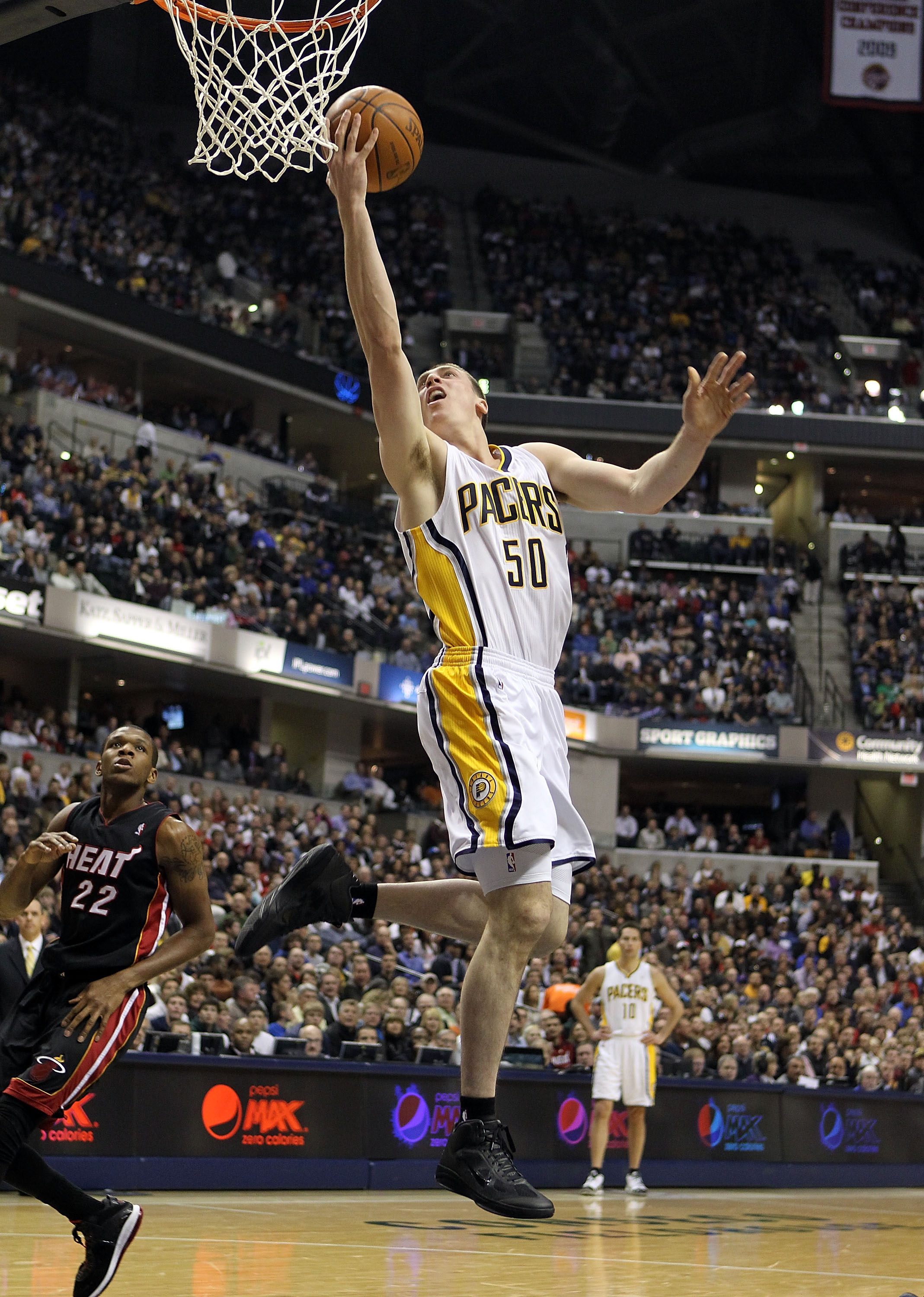 INDIANAPOLIS - FEBRUARY 15:  Tyler Hansbrough #50 of the Indiana Pacers shoots the ball during the NBA game against the  Miami Heat at Conseco Fieldhouse on February 15, 2011 in Indianapolis, Indiana.   NOTE TO USER: User expressly acknowledges and agrees