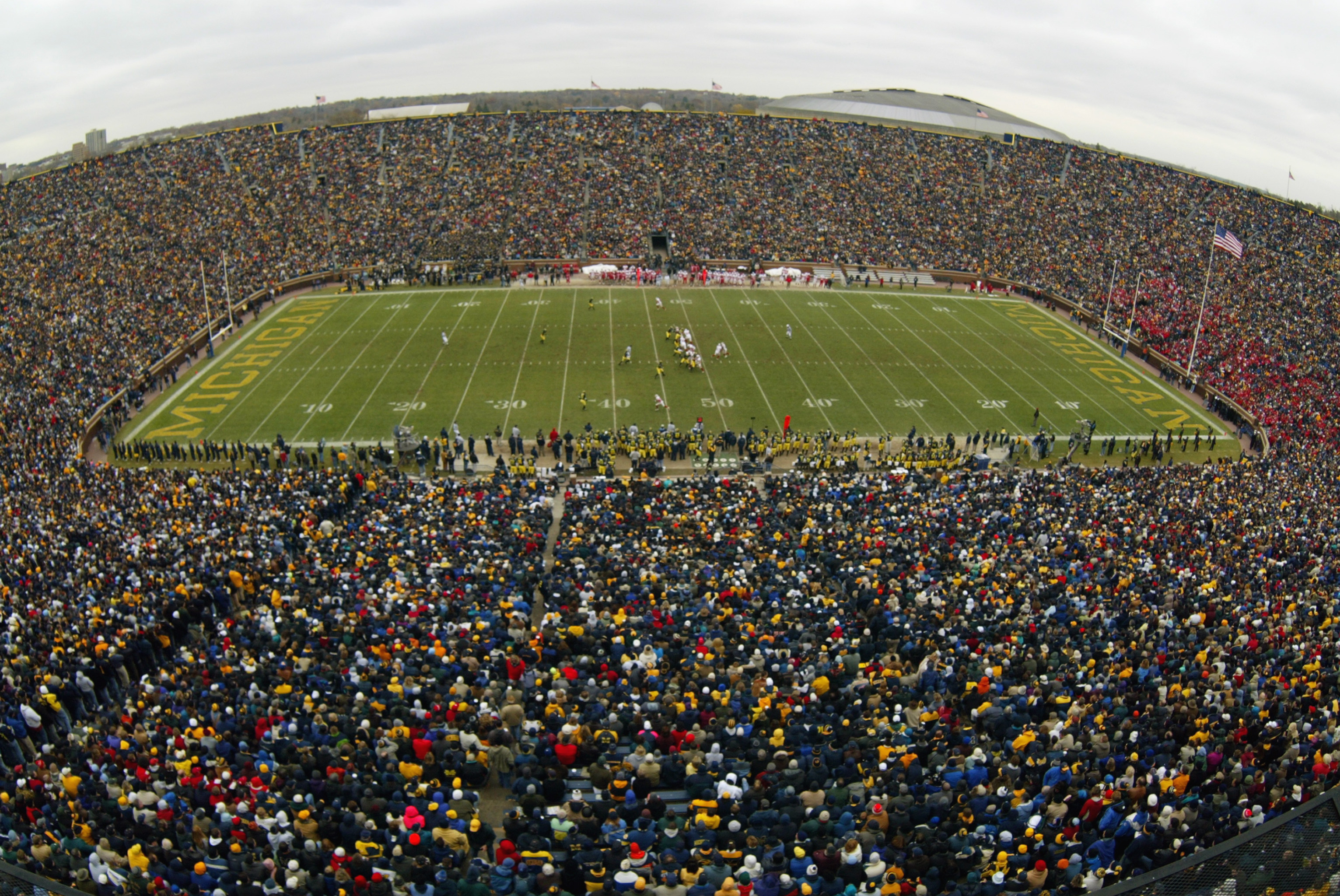 ANN ARBOR, MI - NOVEMBER 16:  A general view of Michigan Stadium, 'The Big House', during the game between the University of Michigan Wolverines and the University of Wisconsin-Madison Badgers at Michigan Stadium on November 16, 2002 in Ann Arbor, Michiga