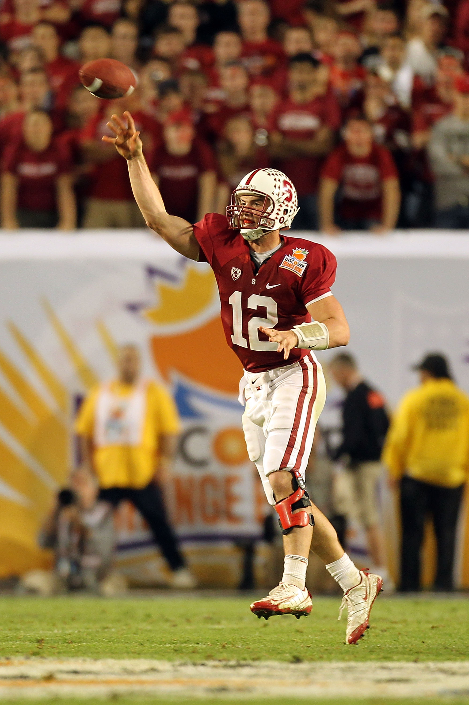 MIAMI, FL - JANUARY 03:  Quarterback Andrew Luck of the Stanford Cardinal a 58-yard touchdown to COby FLeener #82 in the fourth quarter against the Virginia Tech Hokies during the 2011 Discover Orange Bowl at Sun Life Stadium on January 3, 2011 in Miami,