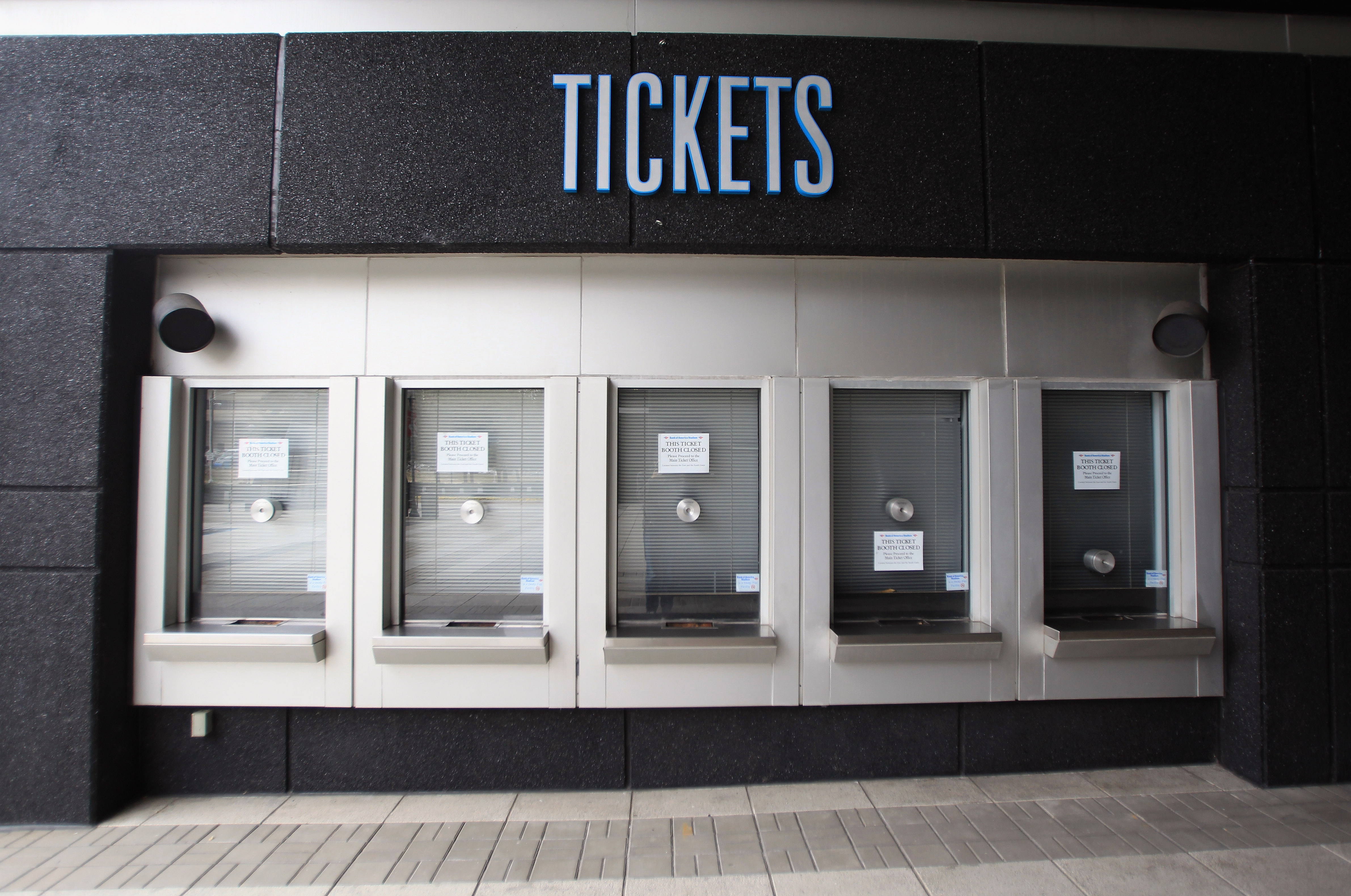 CHARLOTTE, NC - MARCH 04:  A general view of a ticket booth for the Carolina Panthers outside Bank of America Stadium as the NFL lockout looms on March 4, 2011 in Charlotte, North Carolina.  (Photo by Streeter Lecka/Getty Images)