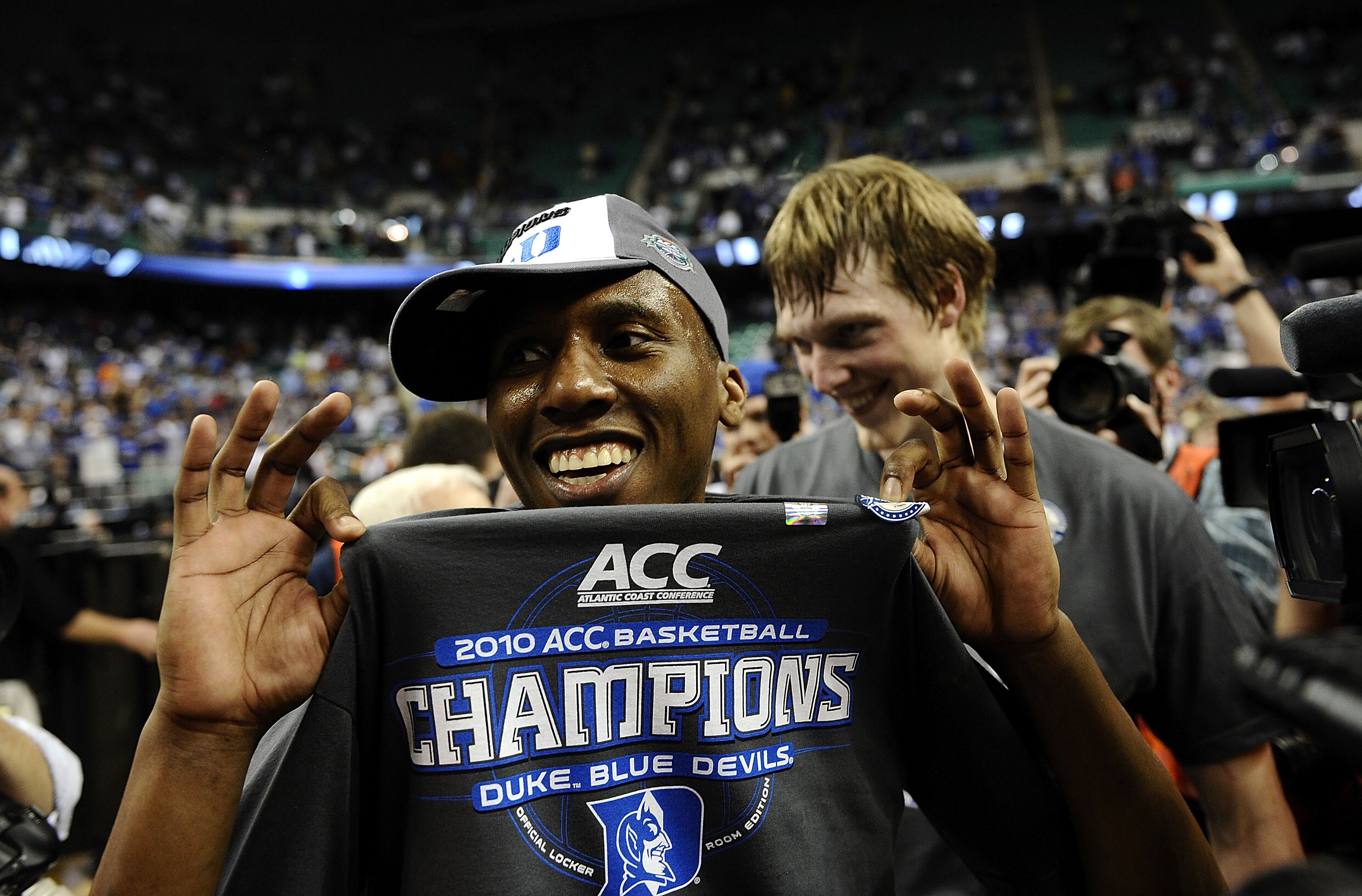 GREENSBORO, NC - MARCH 14:  Nolan Smith #2 of the Duke Blue Devils celebrates win against the Georgia Tech Yellow Jackets in the championship game of the 2010 ACC Men's Basketball Tournament at the Greensboro Coliseum on March 14, 2010 in Greensboro, Nort