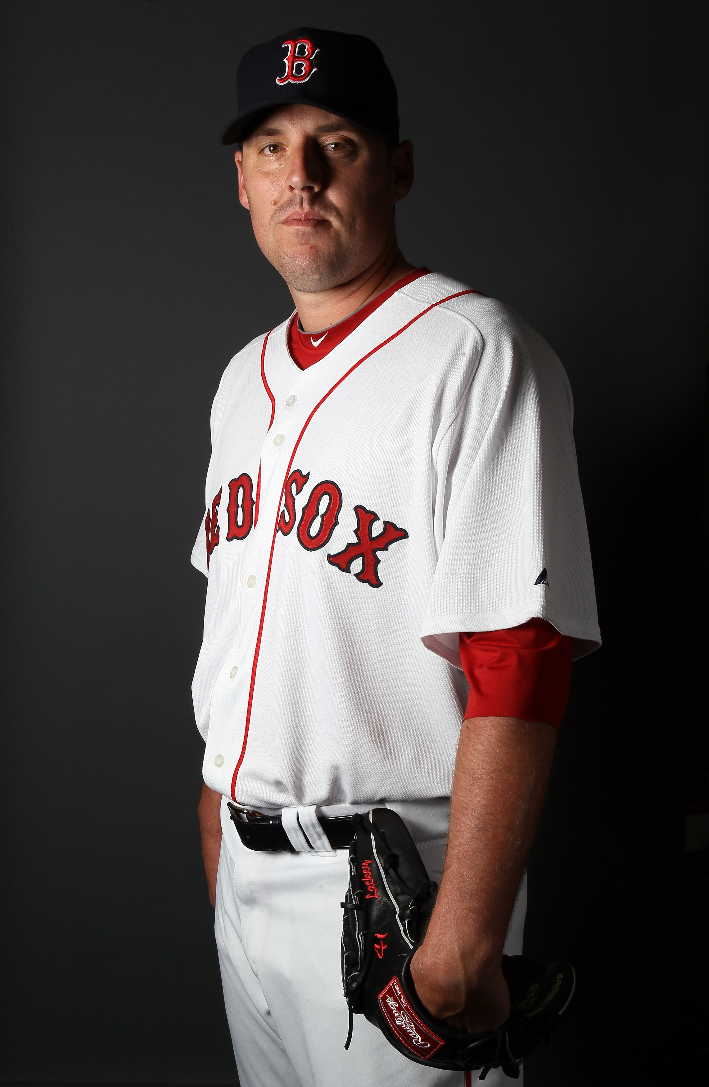 FT. MYERS, FL - FEBRUARY 20:  John Lackey #41 of the Boston Red Sox poses for a portrait during the Boston Red Sox Photo Day on February 20, 2011 at the Boston Red Sox Player Development Complex in Ft. Myers, Florida  (Photo by Elsa/Getty Images)