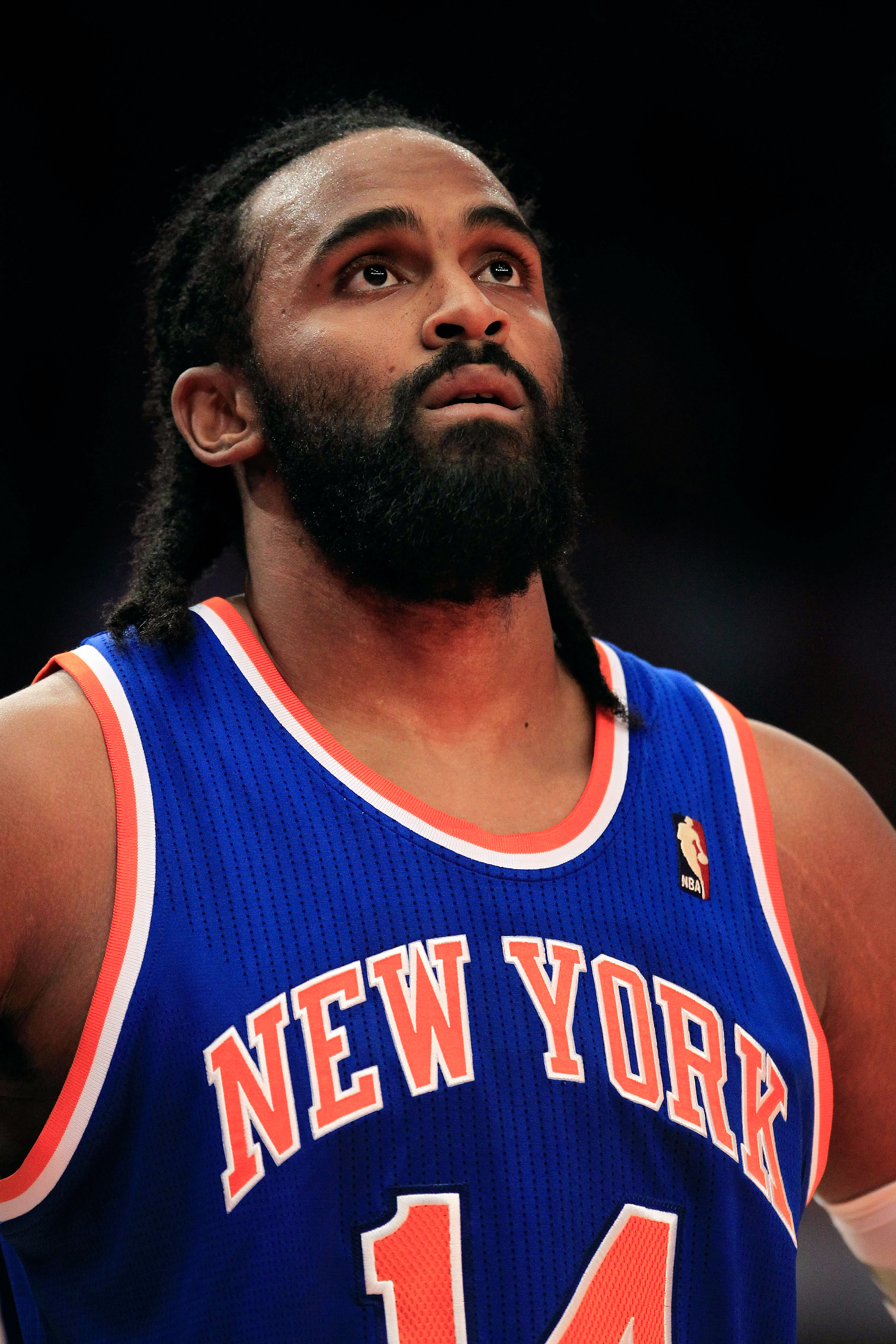NEW YORK, NY - FEBRUARY 23:  Ronny Turiaf #14 of the New York Knicks on the court against the Milwaukee Bucks at Madison Square Garden on February 23, 2011 in New York City. NOTE TO USER: User expressly acknowledges and agrees that, by downloading and/or