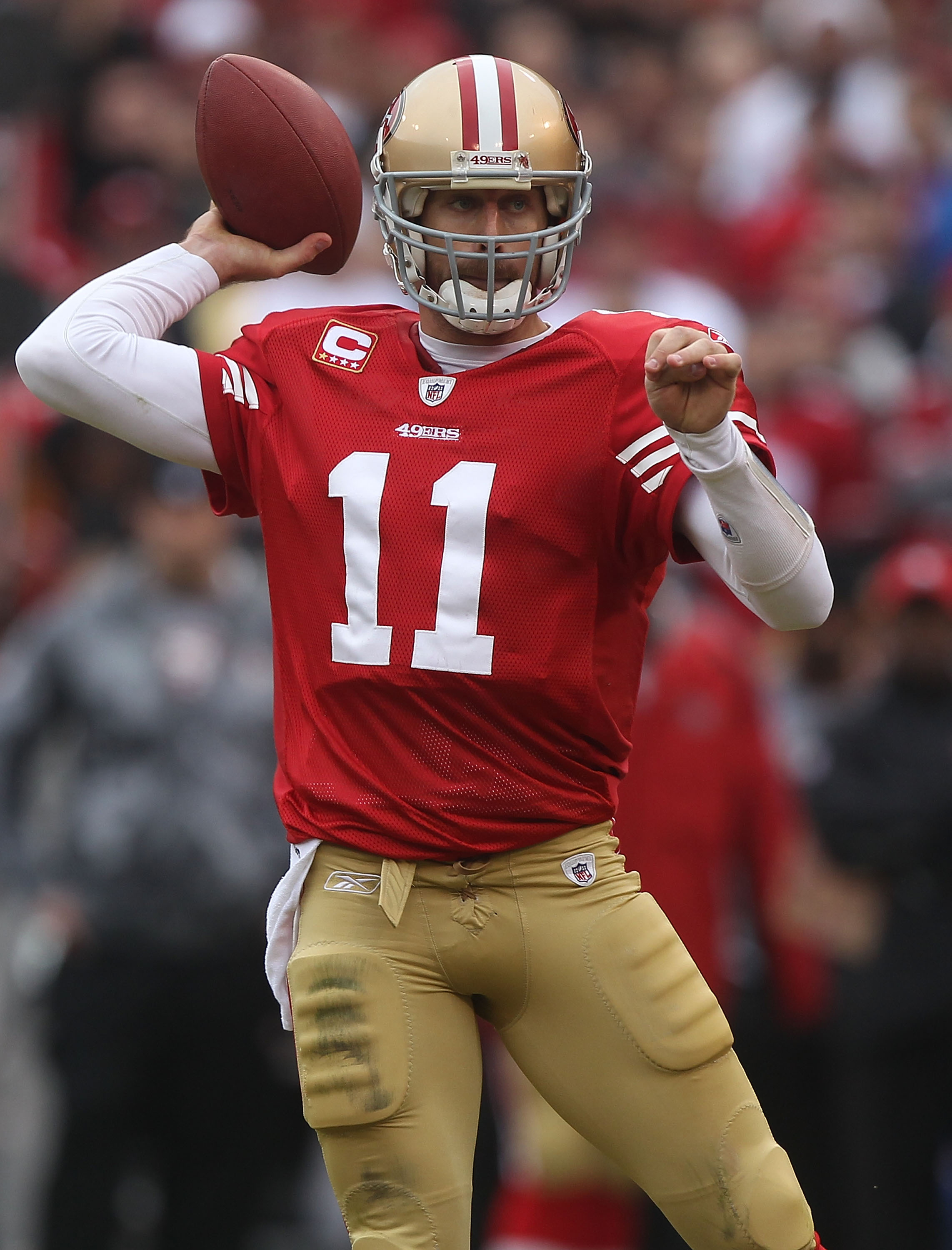 SAN FRANCISCO - DECEMBER 12:  Alex Smith #11 of the San Francisco 49ers passes against the Seattle Seahawks during an NFL game at Candlestick Park on December 12, 2010 in San Francisco, California.(Photo by Jed Jacobsohn/Getty Images)