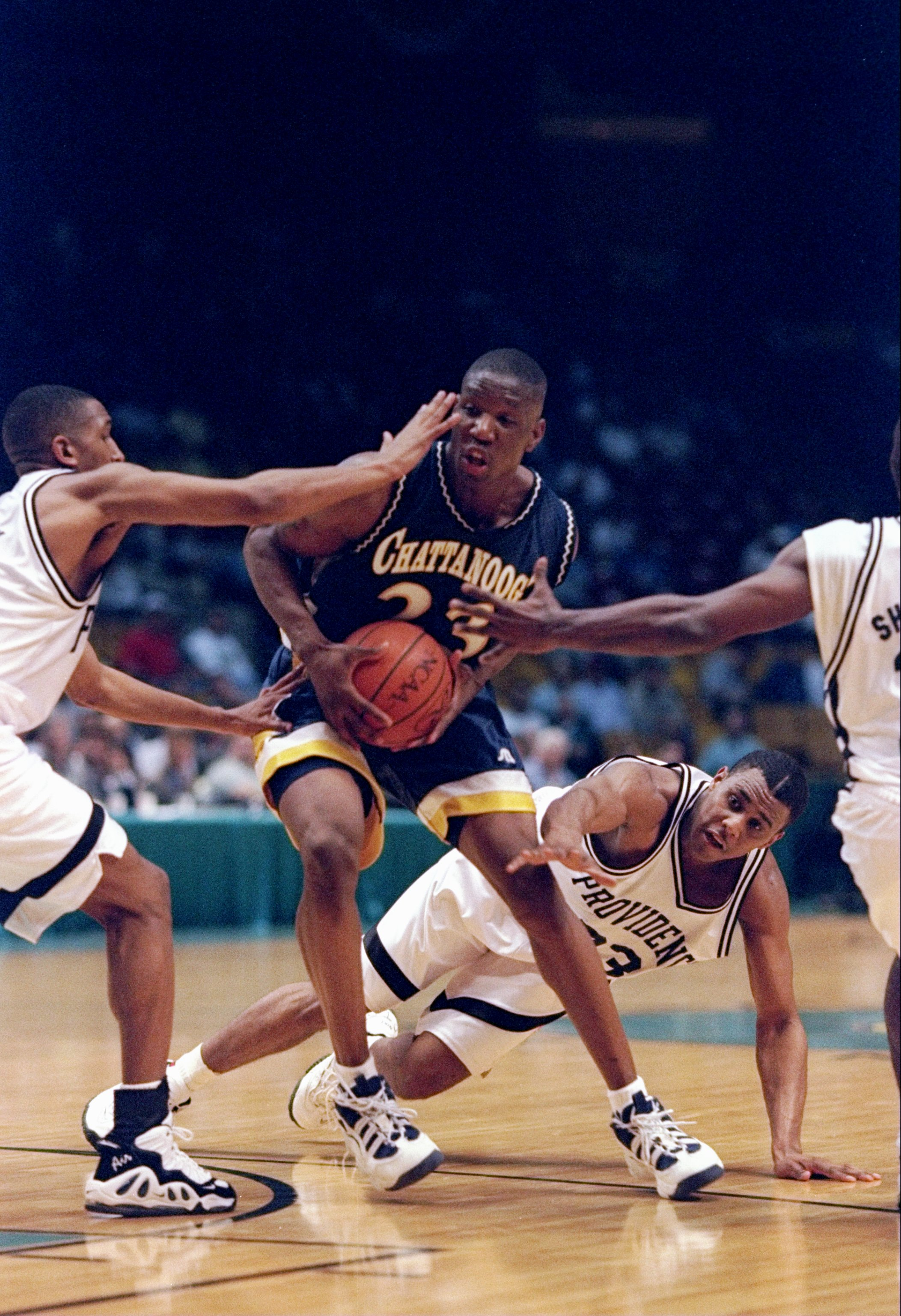 21 Mar 1997:  Forward Johnny Taylor of the Tennessee-Chattanooga Moccasins in action during an NCAA Southeast Regional game against the Providence Friars at the Birmingham-Jefferson Civic Center in Birmingham, Alabama.  Providence won the game 71-65. Mand