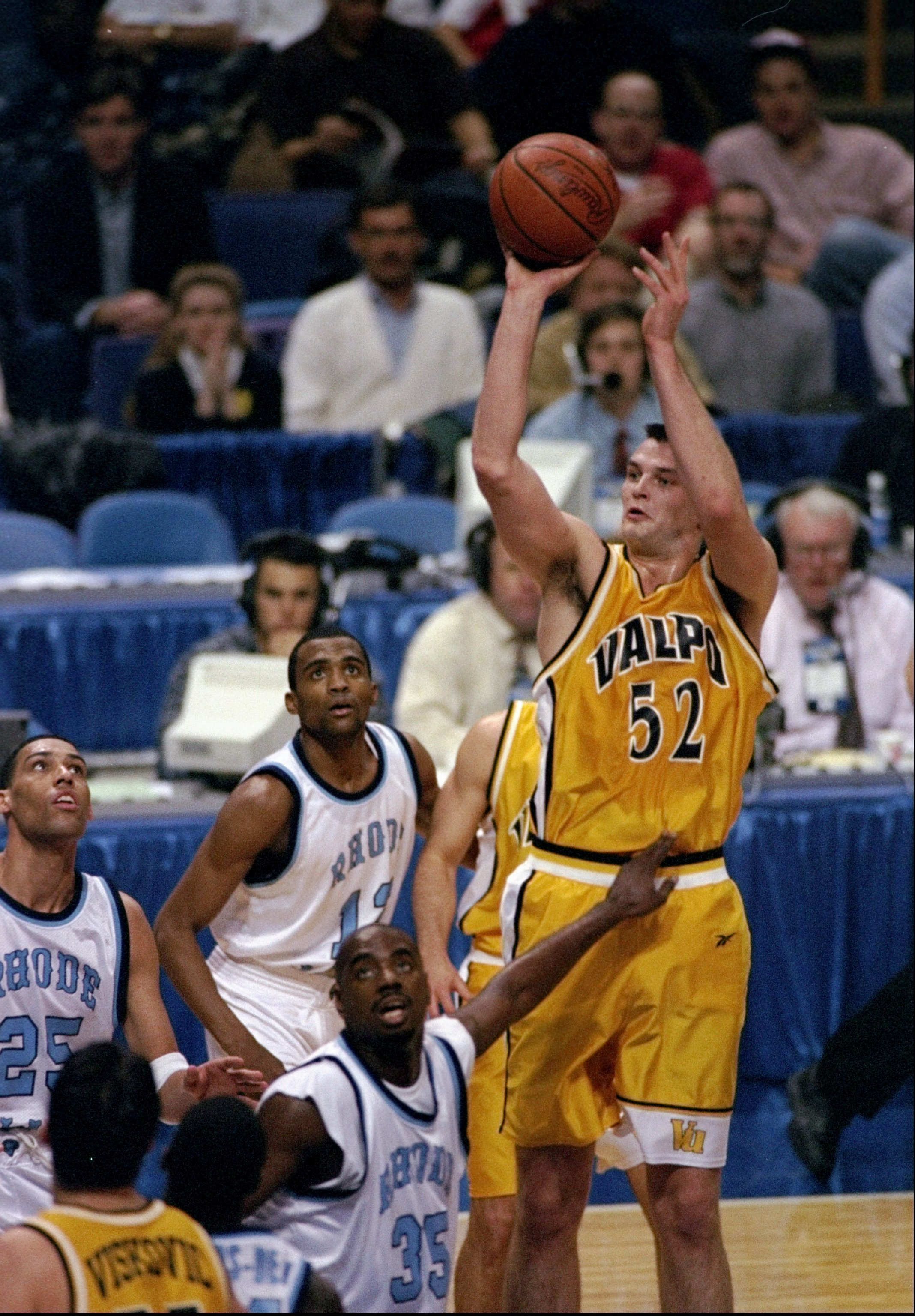 20 Mar 1998:  Center Antanas Vilcinskas of the Valparaiso Crusaders (right) in action against forward Joshua King and center Luther Clay of the Rhode Island Rams during an NCAA tournament game.  Rhode Island defeated Valparaiso 74-68. Mandatory Credit: Ma
