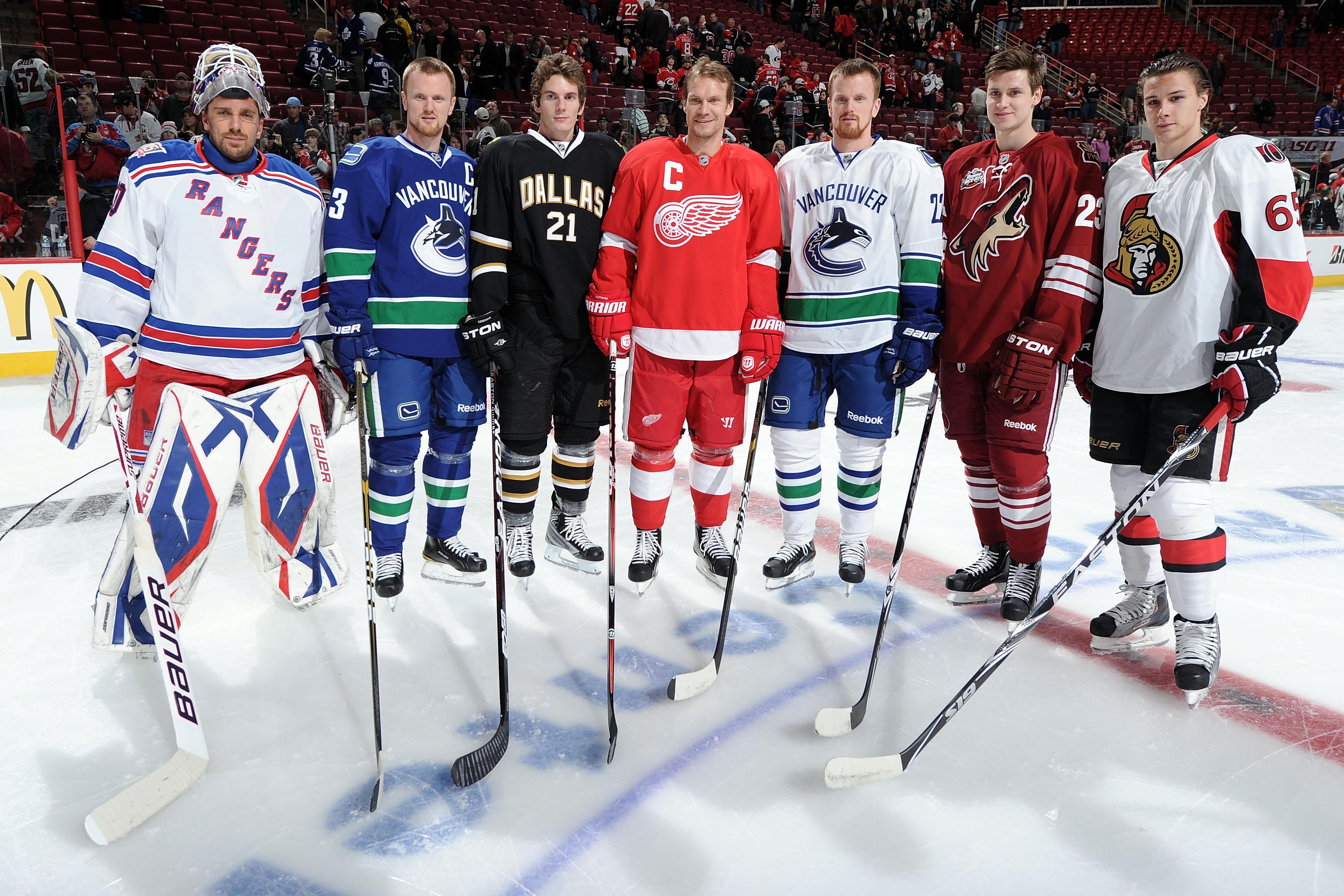 RALEIGH, NC - JANUARY 29:  (L-R) Henrik Lundqvist #30 of New York Rangers, Henrik Sedin #33 of the Vancouver Canucks, Loui Eriksson #21 of the Dallas Stars, Nicklas Lidstrom #5 of the Detroit Red Wings, Daniel Sedin #22 of the Vancouver Canucks, Oliver Ek