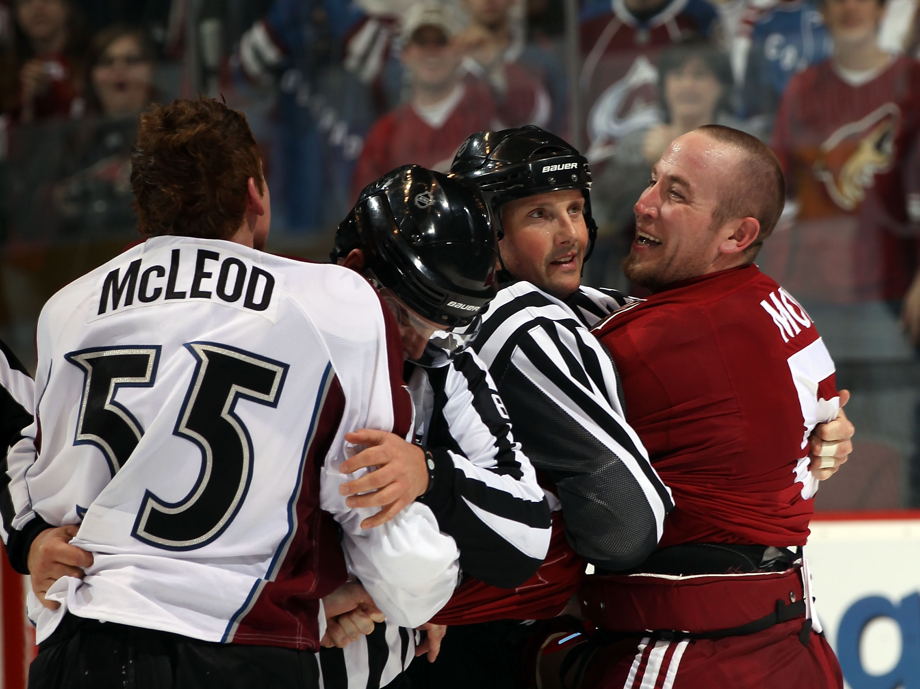 GLENDALE, AZ - FEBRUARY 07: Derek Morris #53 of the Phoenix Coyotes argues with Cody McLeod #55 of the Colorado Avalanche at the Jobing.com Arena on February 7, 2011 in Glendale, Arizona.  (Photo by Bruce Bennett/Getty Images)