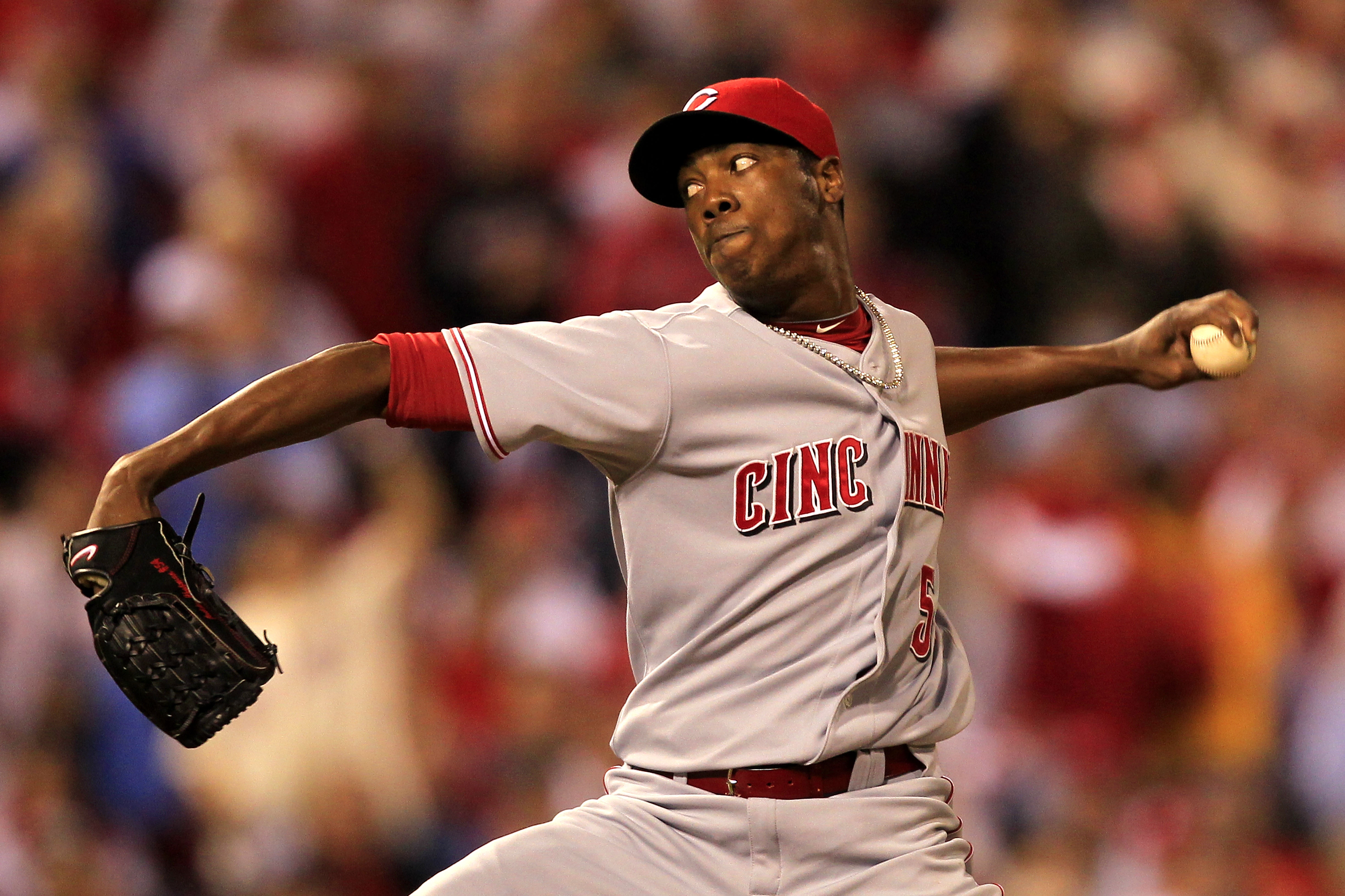 PHILADELPHIA - OCTOBER 08: Aroldis Chapman #54 of the Cincinnati Reds pitches against the Philadelphia Phillies in game 2 of the NLDS at Citizens Bank Park on October 8, 2010 in Philadelphia, Pennsylvania. The Phillies defeated the Reds 7-4.  (Photo by Ch