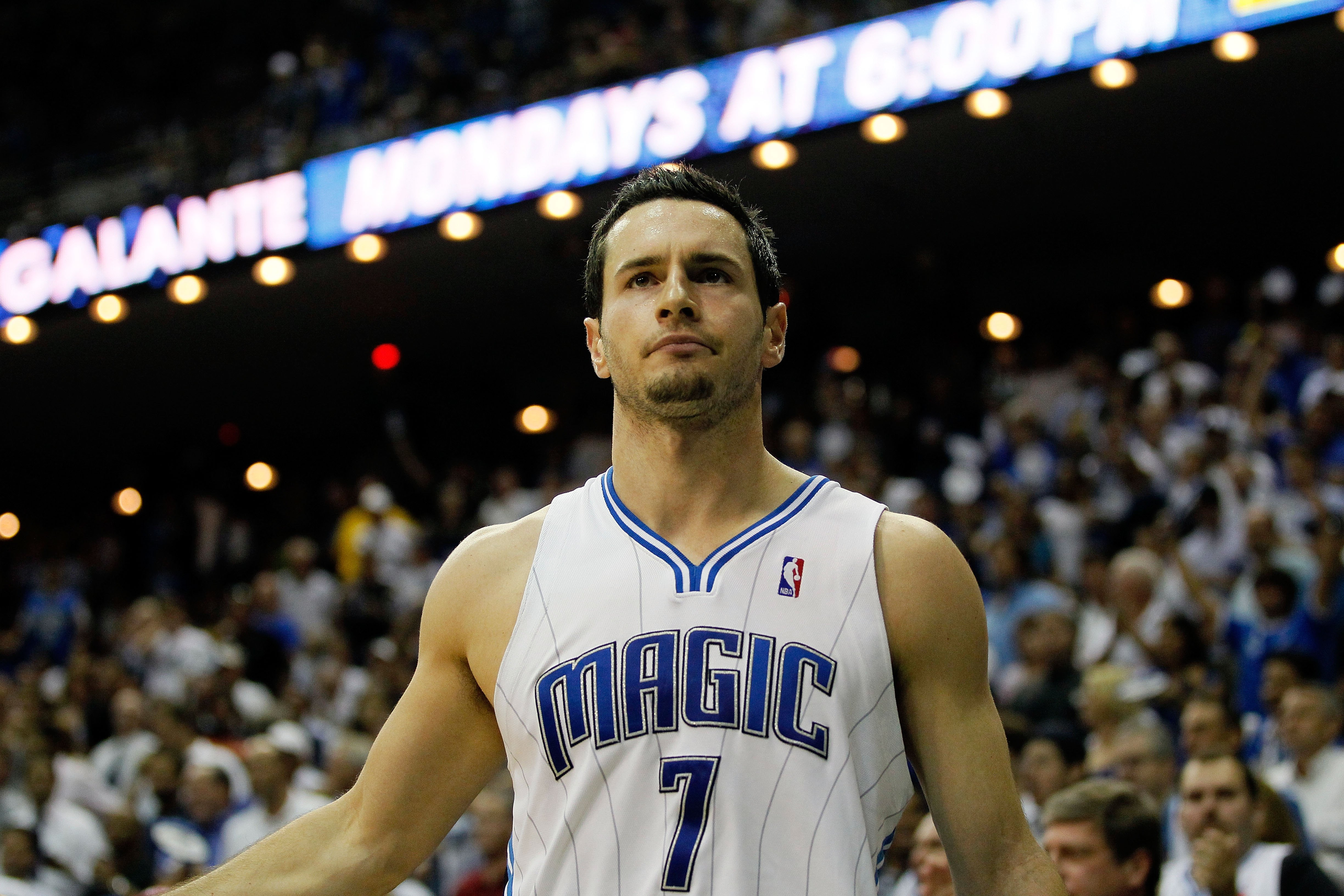 ORLANDO, FL - MAY 26:  J.J. Redick #7 of the Orlando Magic looks on against the Boston Celtics in Game Five of the Eastern Conference Finals during the 2010 NBA Playoffs at Amway Arena on May 26, 2010 in Orlando, Florida.  NOTE TO USER: User expressly ack