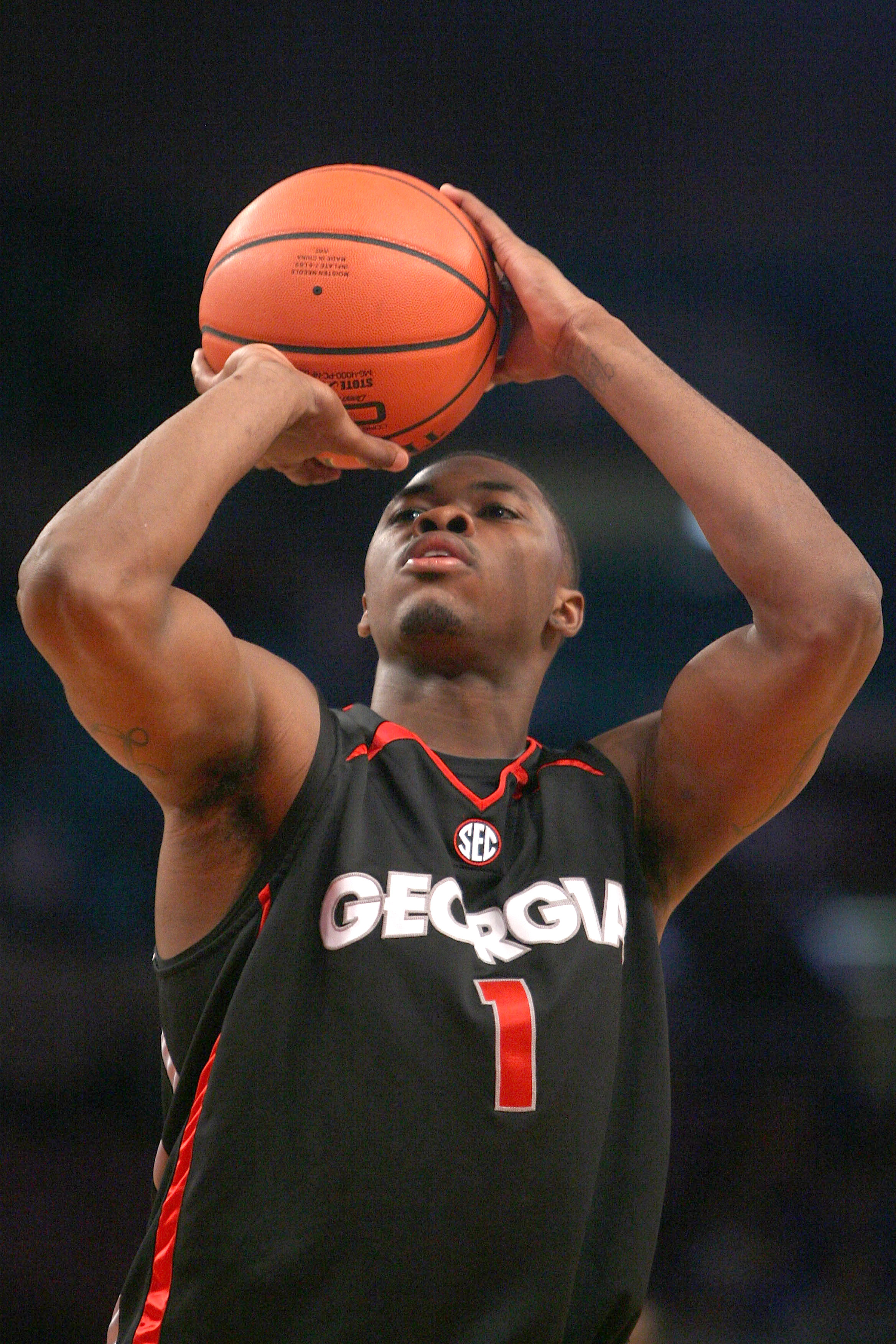 NEW YORK - DECEMBER 09:  Travis Leslie #1 of the Georgia Bulldogs shoots a free throw against the St. John's Red Storm during the SEC Big East Invitational at Madison Square Garden on December 9, 2009 in New York, New York. The Red Storm defeated the Bull