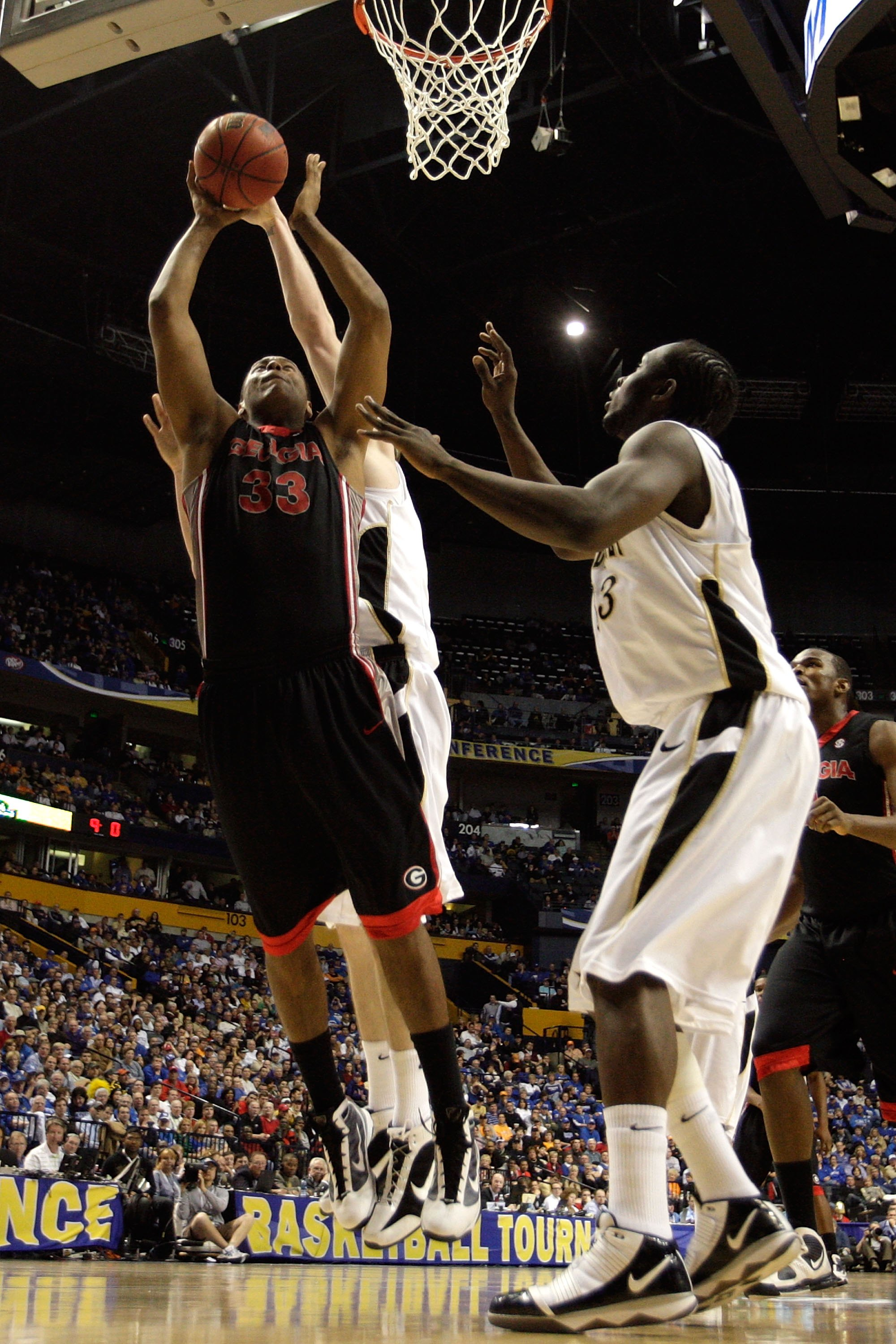 NASHVILLE, TN - MARCH 12:  Trey Thompkins #33 of the Georgia Bulldogs goes up for a shot attempt the Vanderbilt Commodores during the quarterfinals of the SEC Men's Basketball Tournament at the Bridgestone Arena on March 12, 2010 in Nashville, Tennessee.