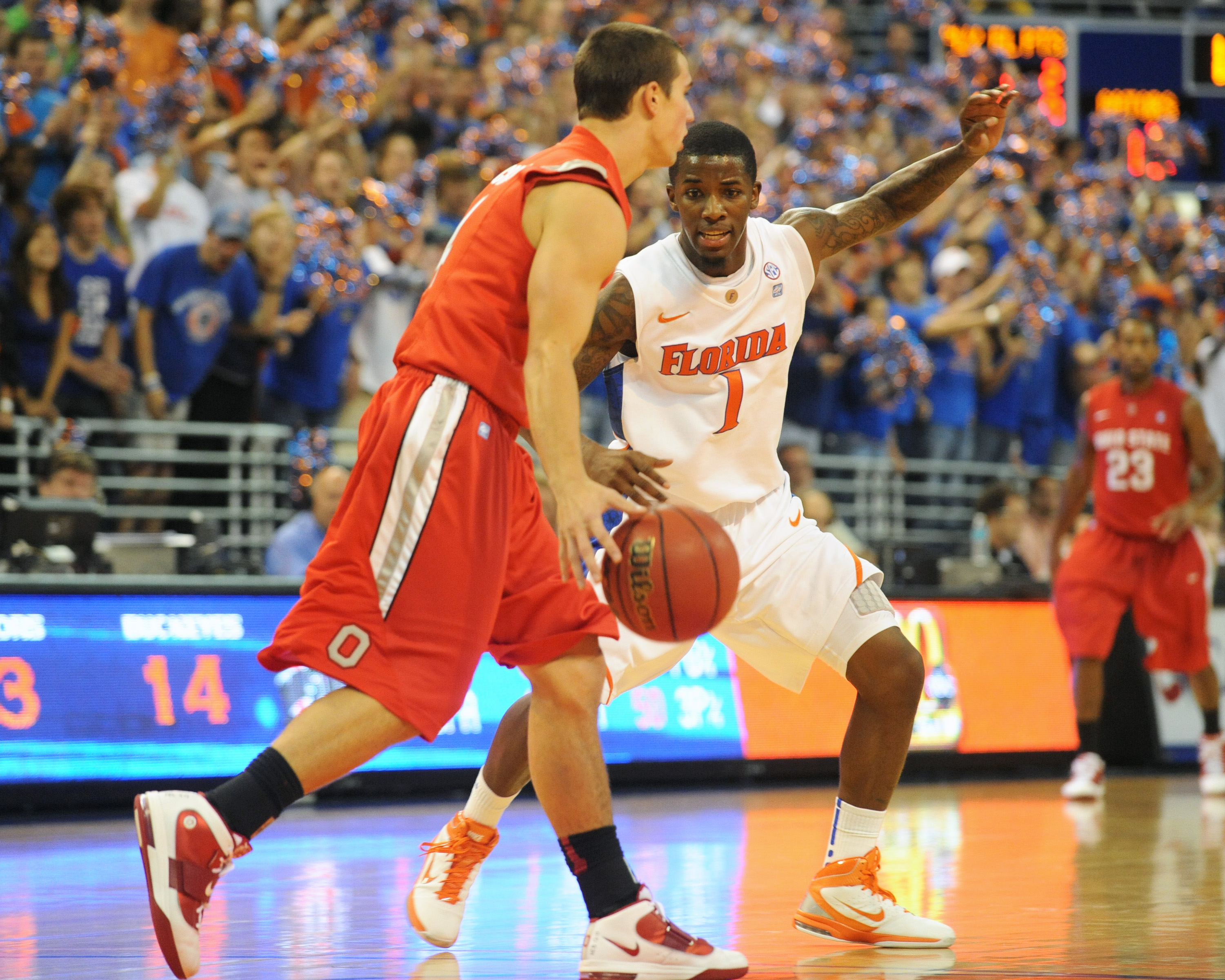GAINESVILLE, FL - NOVEMBER 16: Guard Kenny Boynton #1 of the Florida Gators sets on defense against the Ohio State Buckeyes November 16, 2010 at the Stephen C. O'Connell Center in Gainesville, Florida.  (Photo by Al Messerschmidt/Getty Images)