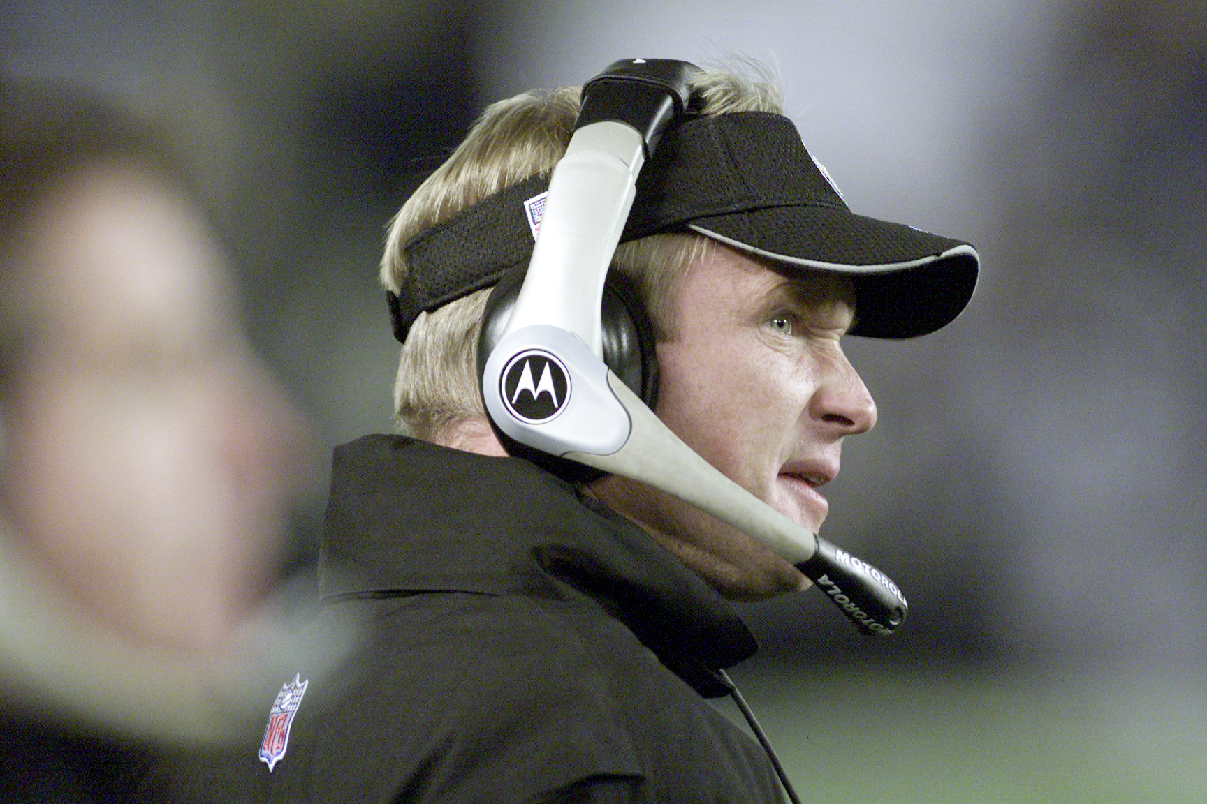 15 Dec 2001:  Jon Gruden head coach of the Oakland Raiders watches hs team play the San Diego Chargers during their game at Qualcomm Stadium in San Diego, California.  The Raiders won 13-6. DIGITAL IMAGE   Mandatory Credit:  Stephen Dunn/ALLSPORT