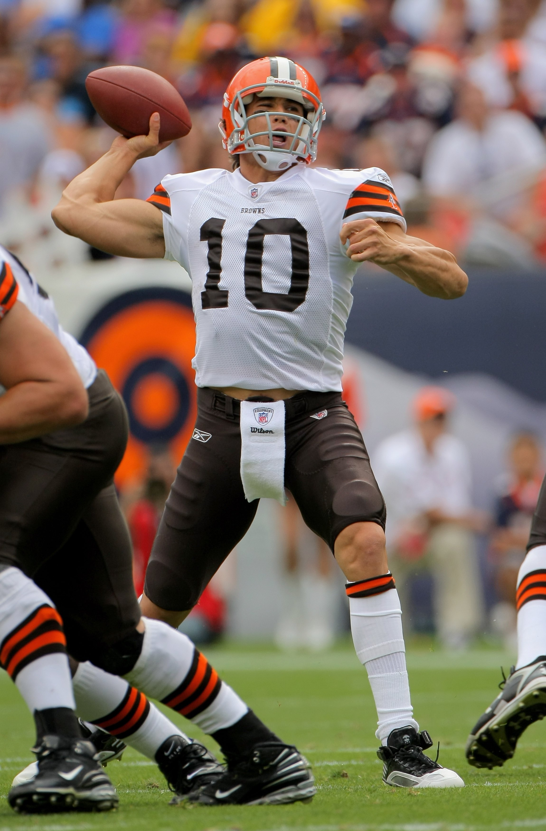 DENVER - SEPTEMBER 20:  Quarterback Brady Quinn #10 of the Cleveland Browns delivers a pass against the Denver Broncos during NFL action at Invesco Field at Mile High on September 20, 2009 in Denver, Colorado. The Broncos defeated the Browns 27-6.  (Photo