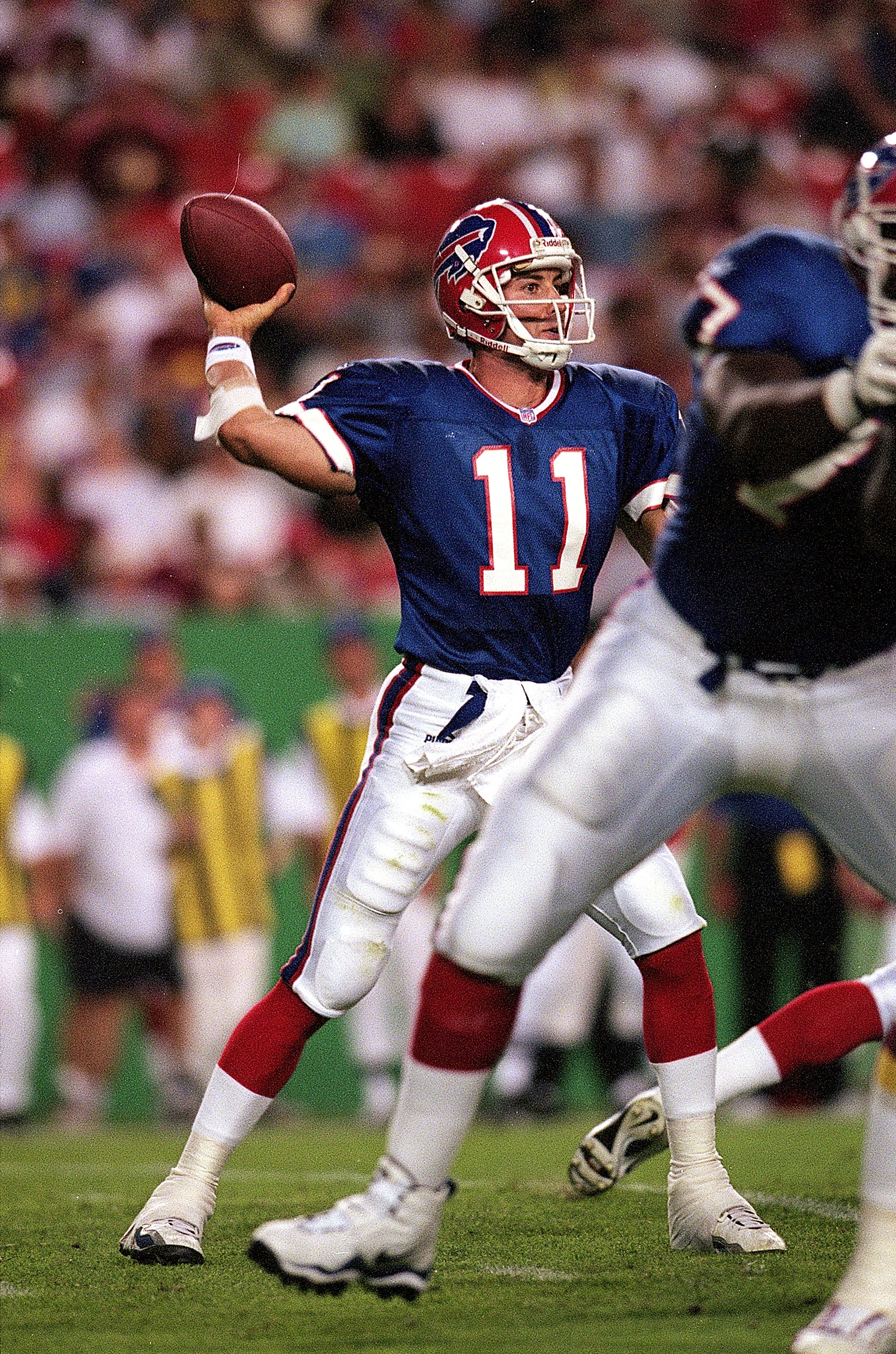 20 Aug 1999:  Rob Johnson #11 of the Buffalo Bills moves back to throw the ball during a game against the Washington Redskins at the Redskins Stadium in Landover, Maryland. The Redskins defeated the Bills 20-19. Mandatory Credit: Doug Pensinger  /Allsport