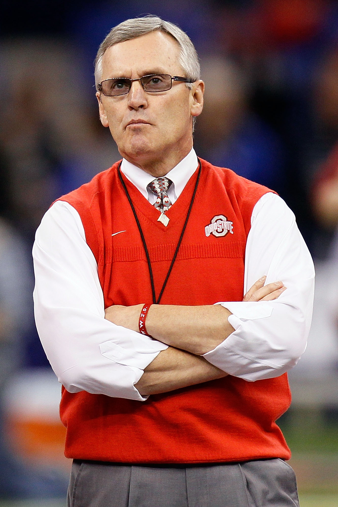 NEW ORLEANS, LA - JANUARY 04:  Head coach Jim Tressel of the Ohio State Buckeyes looks on before the Allstate Sugar Bowl against the Arkansas Razorbacks at the Louisiana Superdome on January 4, 2011 in New Orleans, Louisiana.  (Photo by Kevin C. Cox/Getty