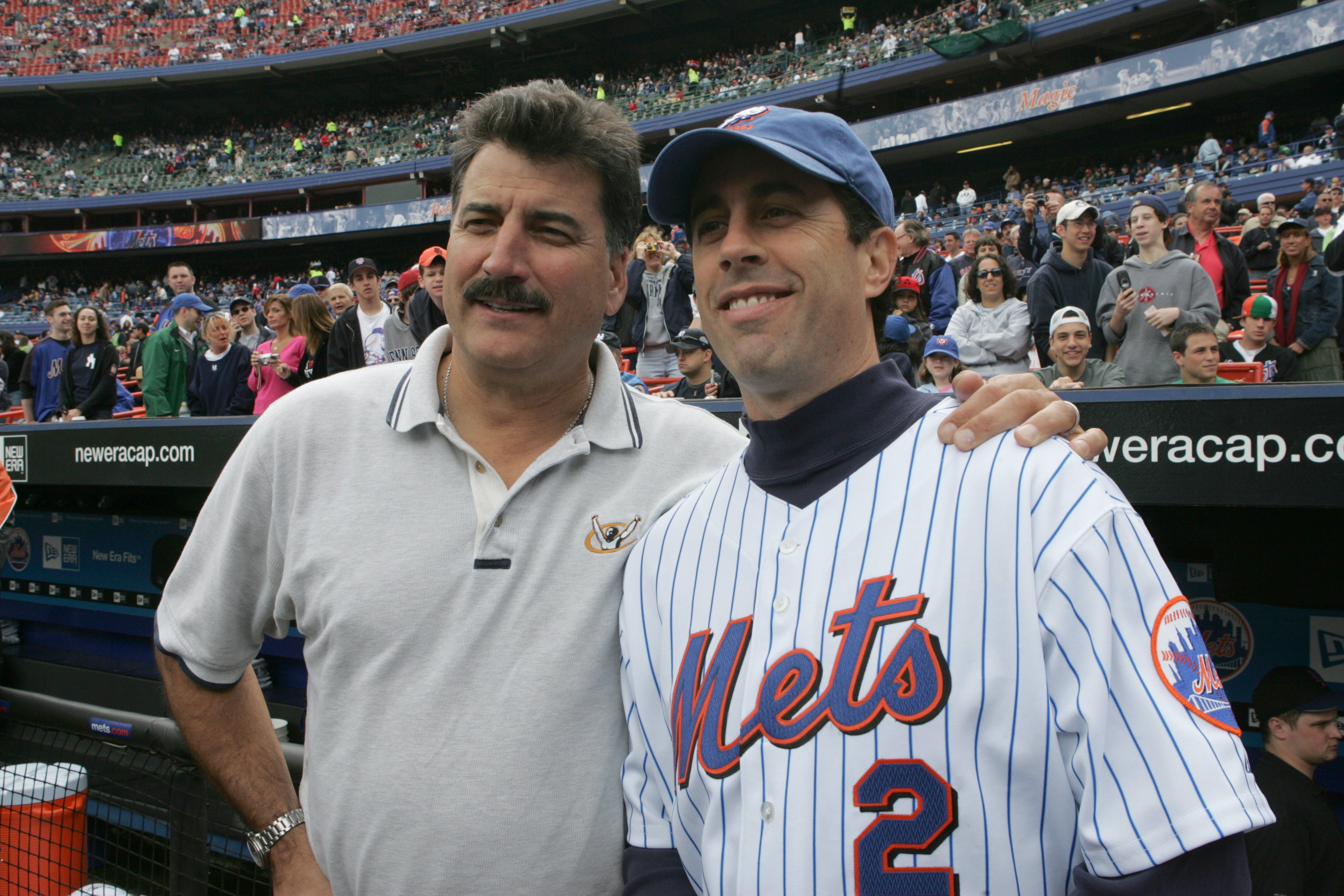 FLUSHING, NY - MAY 22:  Former player Keith Hernandez (L) poses for a picture with comedian Jerry Seinfeld before the game between the New York Mets and the New York Yankees at Shea Stadium on May 22, 2005 in Flushing, New York. The Yankees defeated the M