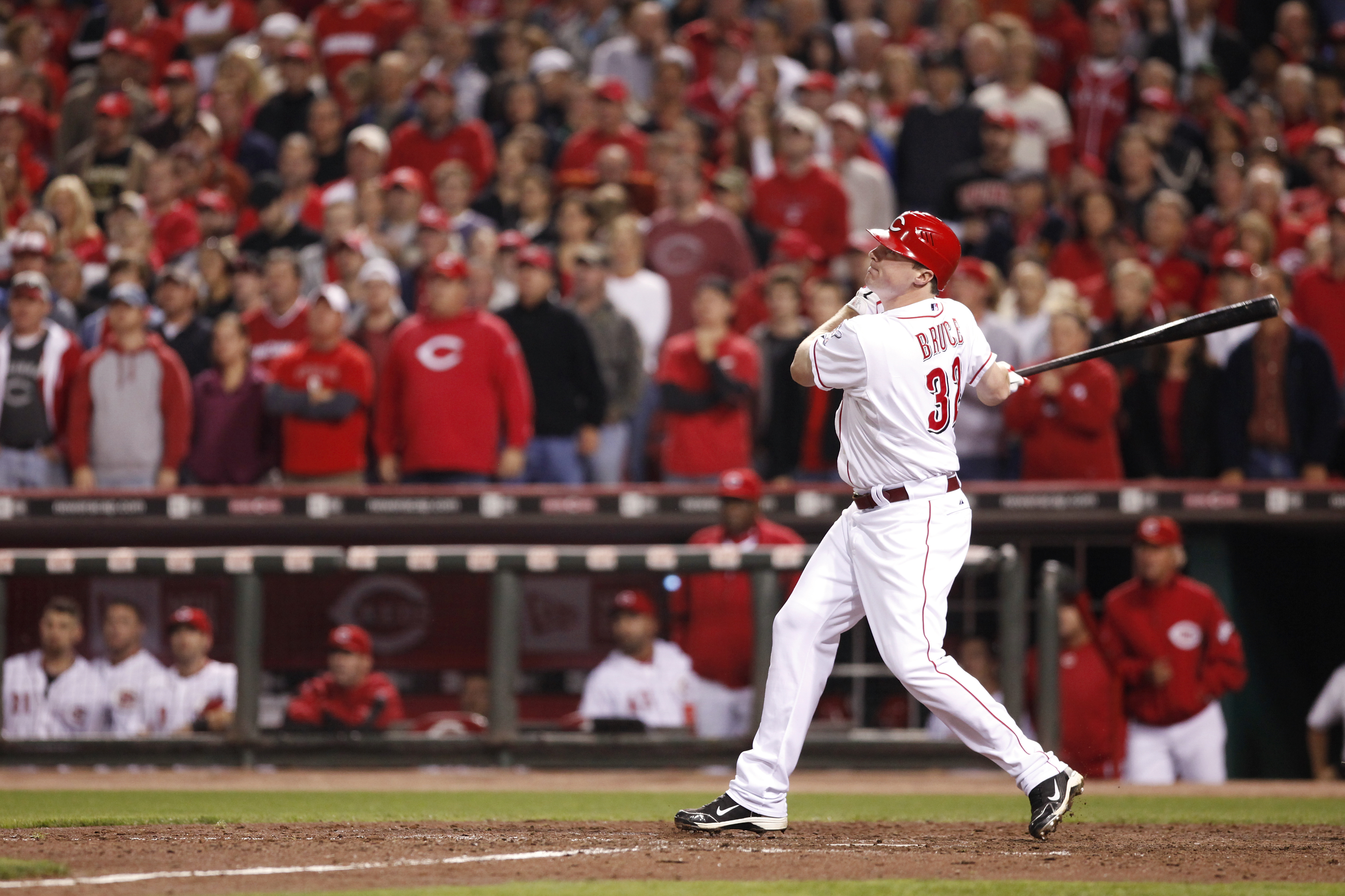 CINCINNATI, OH - SEPTEMBER 28: Jay Bruce #32 of the Cincinnati Reds watches his walk off home run in the ninth inning against the Houston Astros at Great American Ball Park on September 28, 2010 in Cincinnati, Ohio. The Reds won 3-2 to clinch the NL Centr