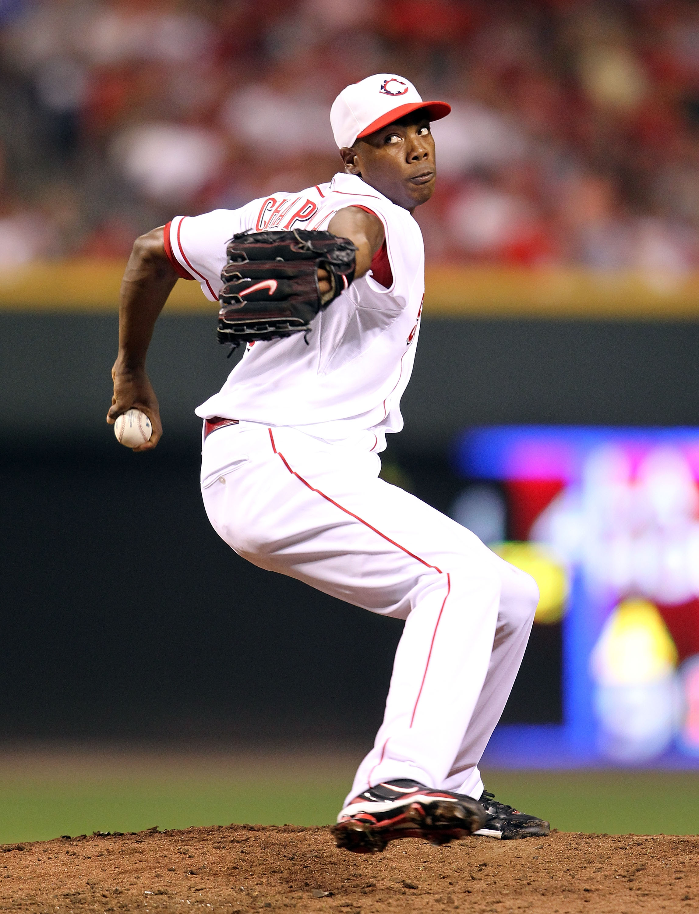 CINCINNATI - SEPTEMBER 11:  Aroldis Chapman #54 of the Cincinnati Reds throws a pitch during the game against the Pittsburg Pirates at Great American Ball Park on September 11, 2010 in Cincinnati, Ohio. The Reds won 5-4.  (Photo by Andy Lyons/Getty Images