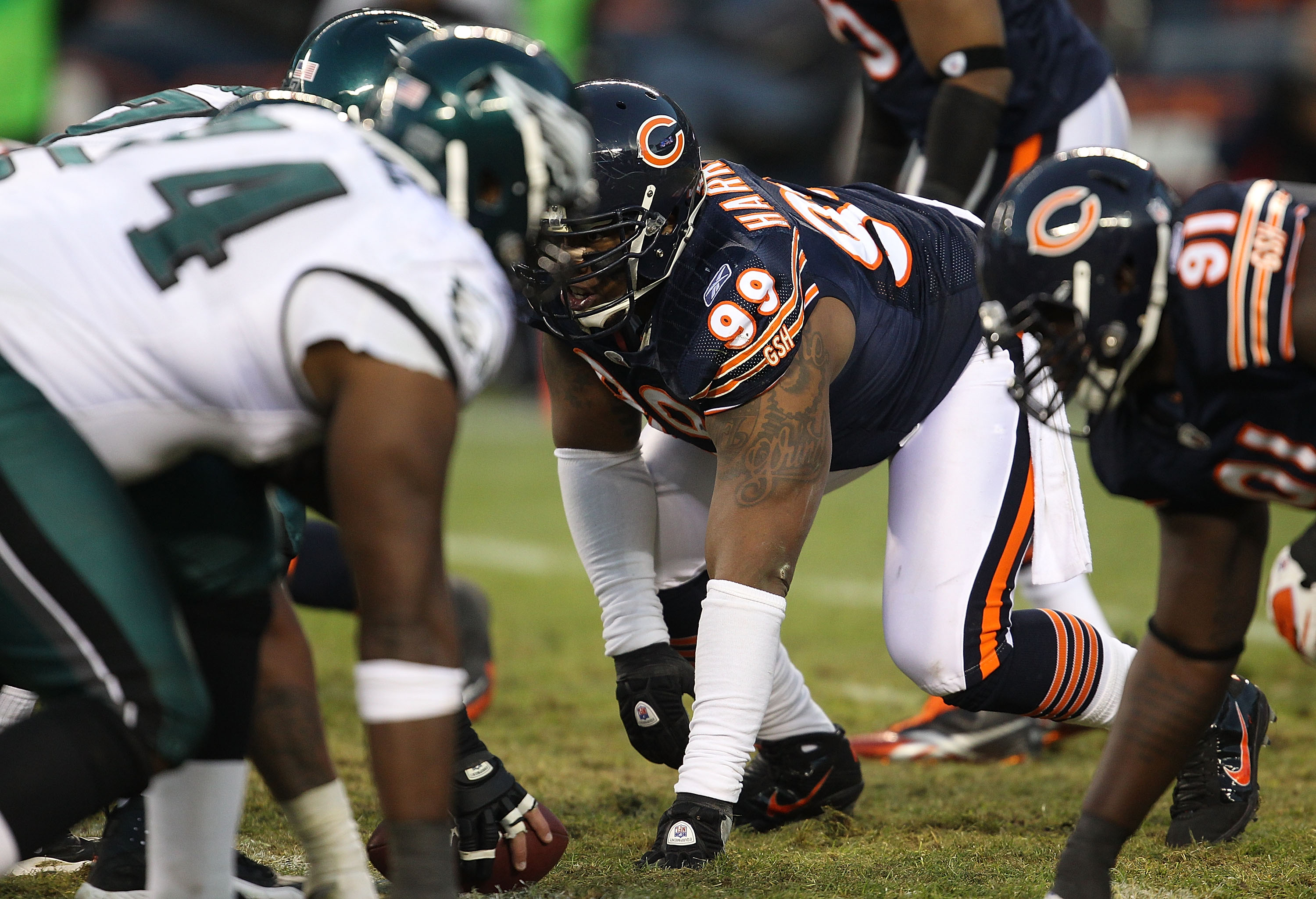 CHICAGO - NOVEMBER 28: Marcus Harrison #99 of the Chicago Bears prepares to rush against the Philadelphia Eagles at Soldier Field on November 28, 2010 in Chicago, Illinois. The Bears defeated the Eagles 31-26. (Photo by Jonathan Daniel/Getty Images)