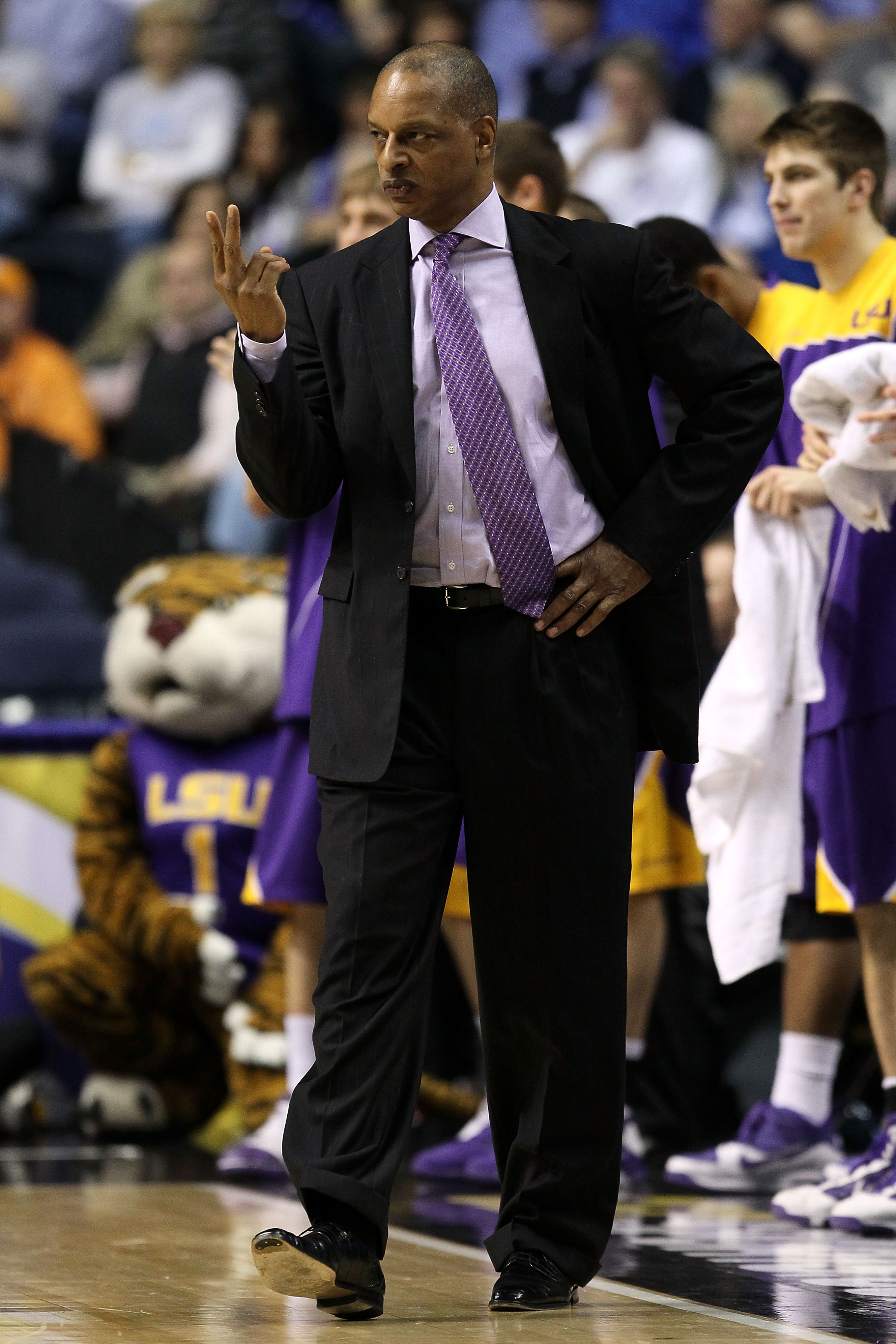 NASHVILLE, TN - MARCH 11:  Head coach Trent Johnson of the LSU Tigers coaches against the Tennessee Volunteers during the first round of the SEC Men's Basketball Tournament at the Bridgestone Arena on March 11, 2010 in Nashville, Tennessee.  (Photo by And