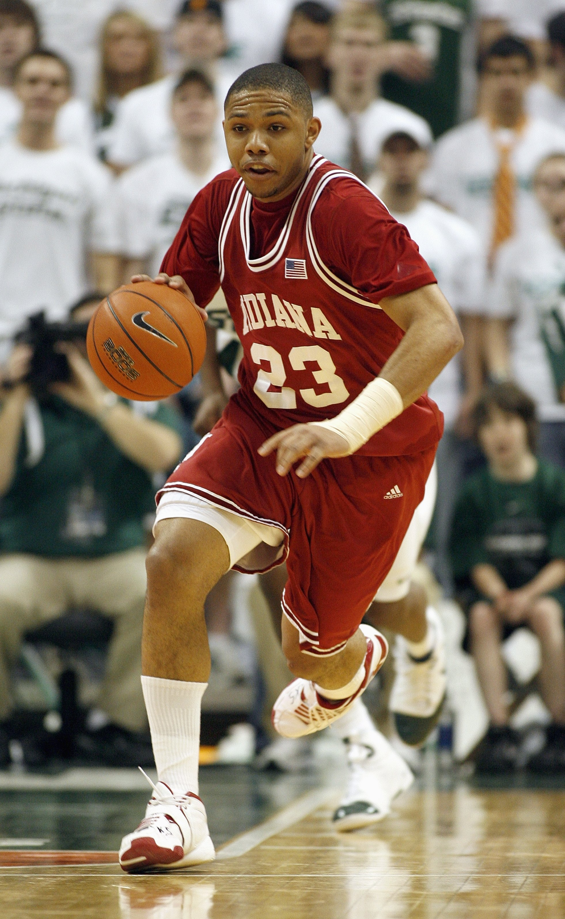 EAST LANSING, MI - MARCH 02: Eric Gordon #23 of the Indiana Hoosiers drives the ball against the Michigan State Spartans at the Breslin Center March 2, 2008 in East Lansing, Michigan. Michigan State won the game 103-74. (Photo by Gregory Shamus/Getty Imag
