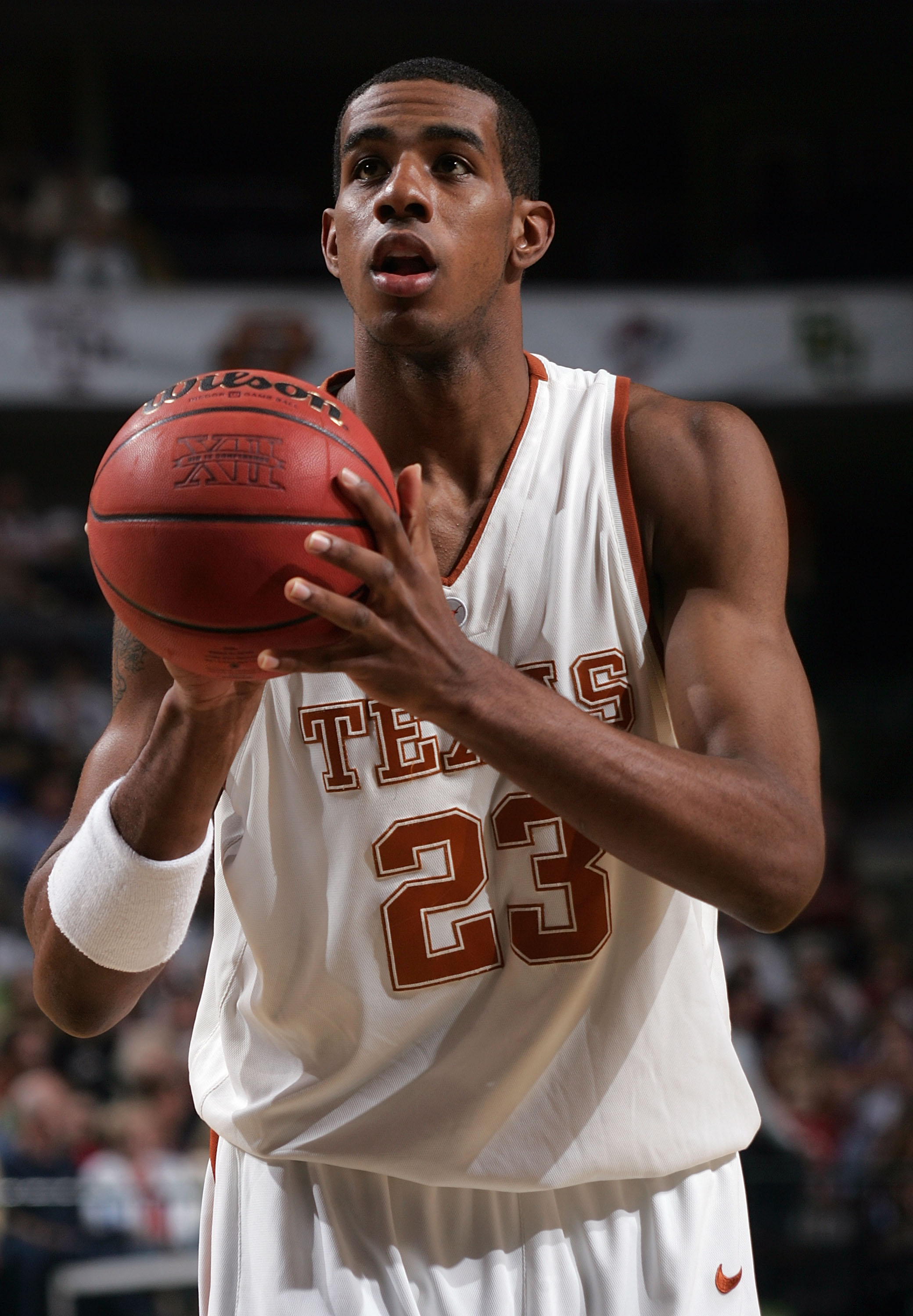 DALLAS - MARCH 11:  LaMarcus Aldridge #23 of the Texas Longhorns sets up for a free throw against the Texas A&M Aggies in the semifinals round of the Phillips 66 Big 12 Men's Basketball Championship Tournament at American Airlines Arena on March 11, 2006