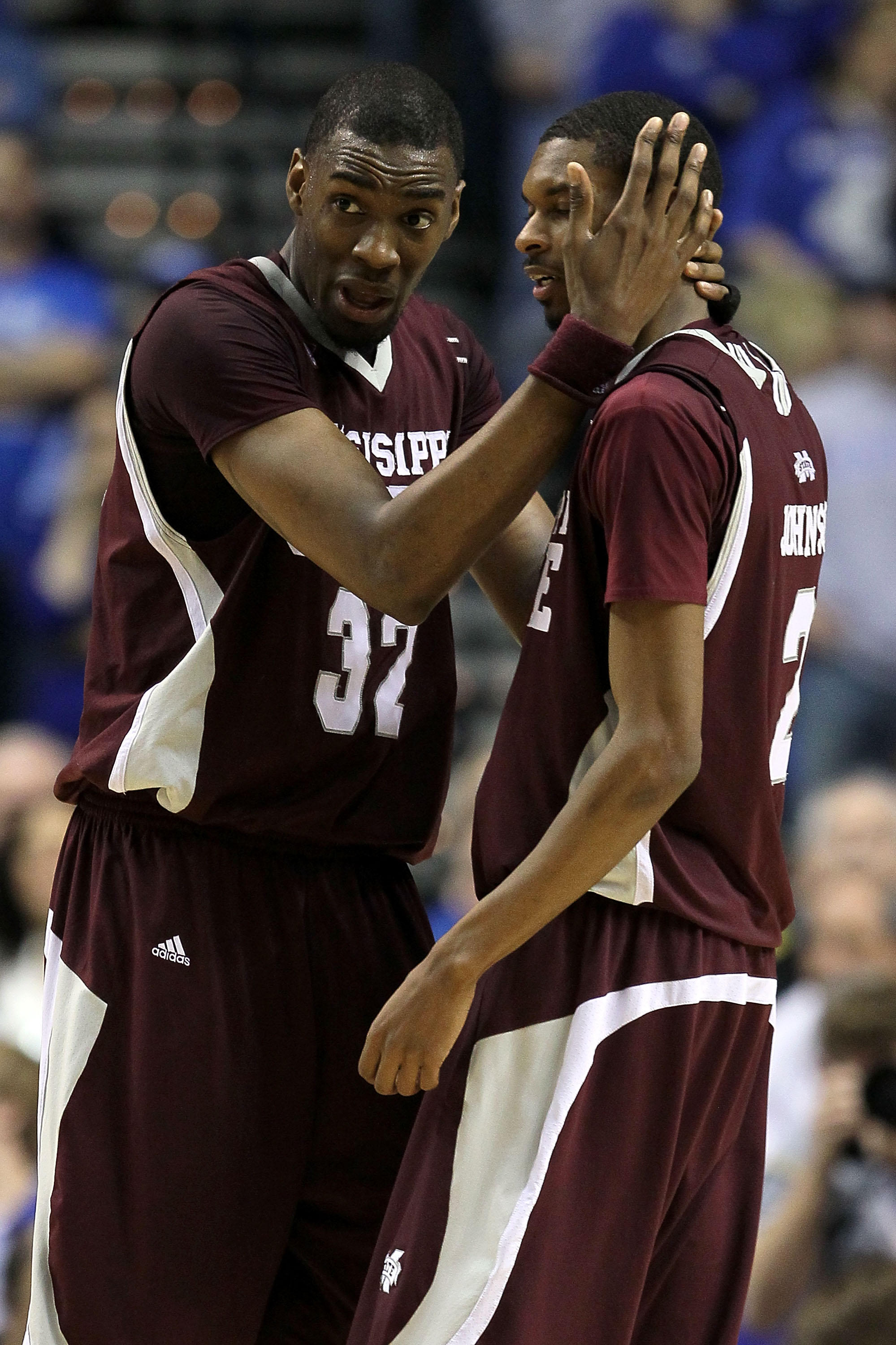 NASHVILLE, TN - MARCH 14:  (L-R) Jarvis Varnado #32 and Ravern Johnson #2 of the Mississippi State Bulldogs talk in the final minute of regulation against the Kentucky Wildcats during the final of the SEC Men's Basketball Tournament at the Bridgestone Are