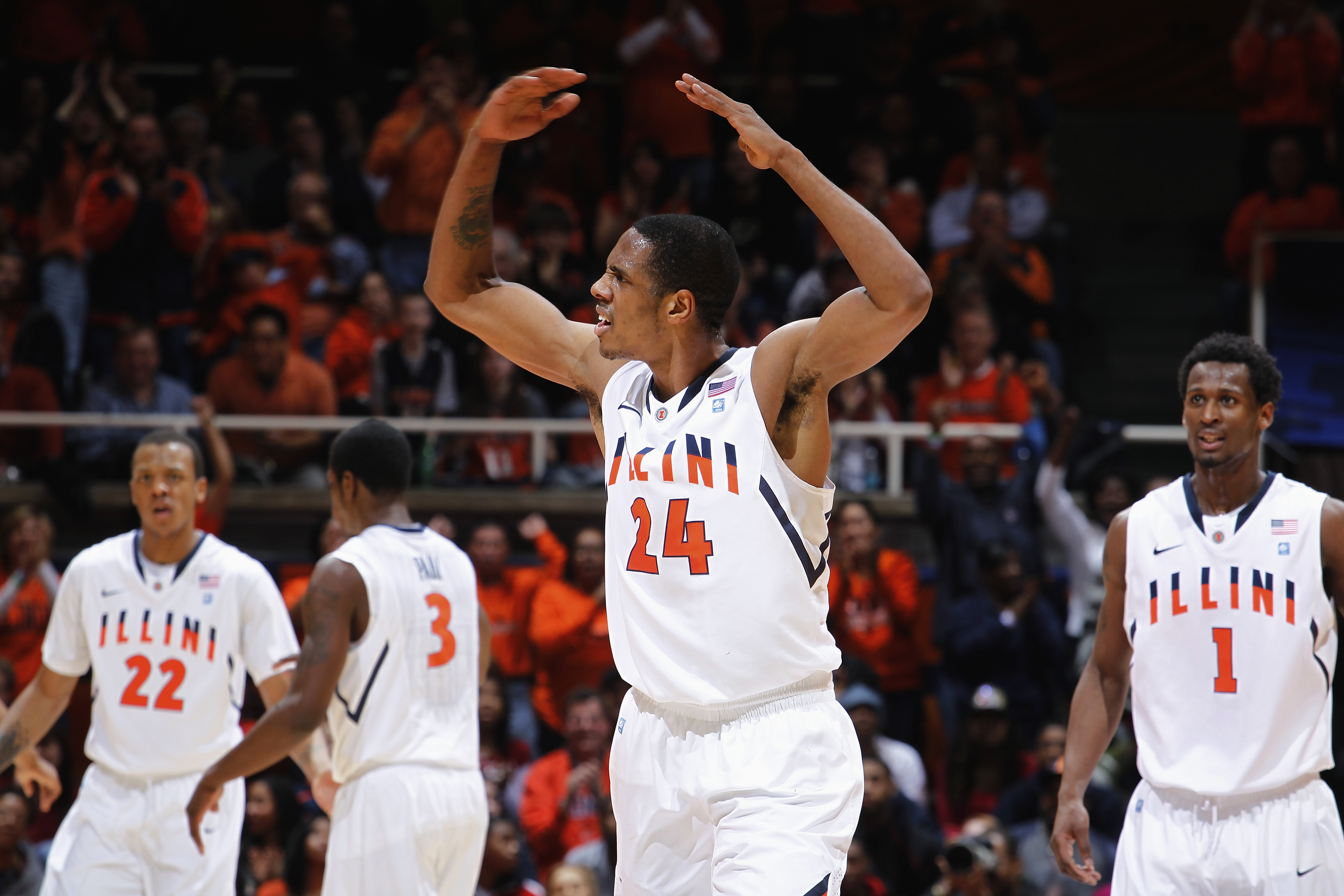 CHAMPAIGN, IL - FEBRUARY 13: Mike Davis #24 of the Illinois Fighting Illini tries to fire up the crowd against the Purdue Boilermakers at Assembly Hall on February 13, 2011 in Champaign, Illinois. Purdue defeated Illinois 81-70. (Photo by Joe Robbins/Gett