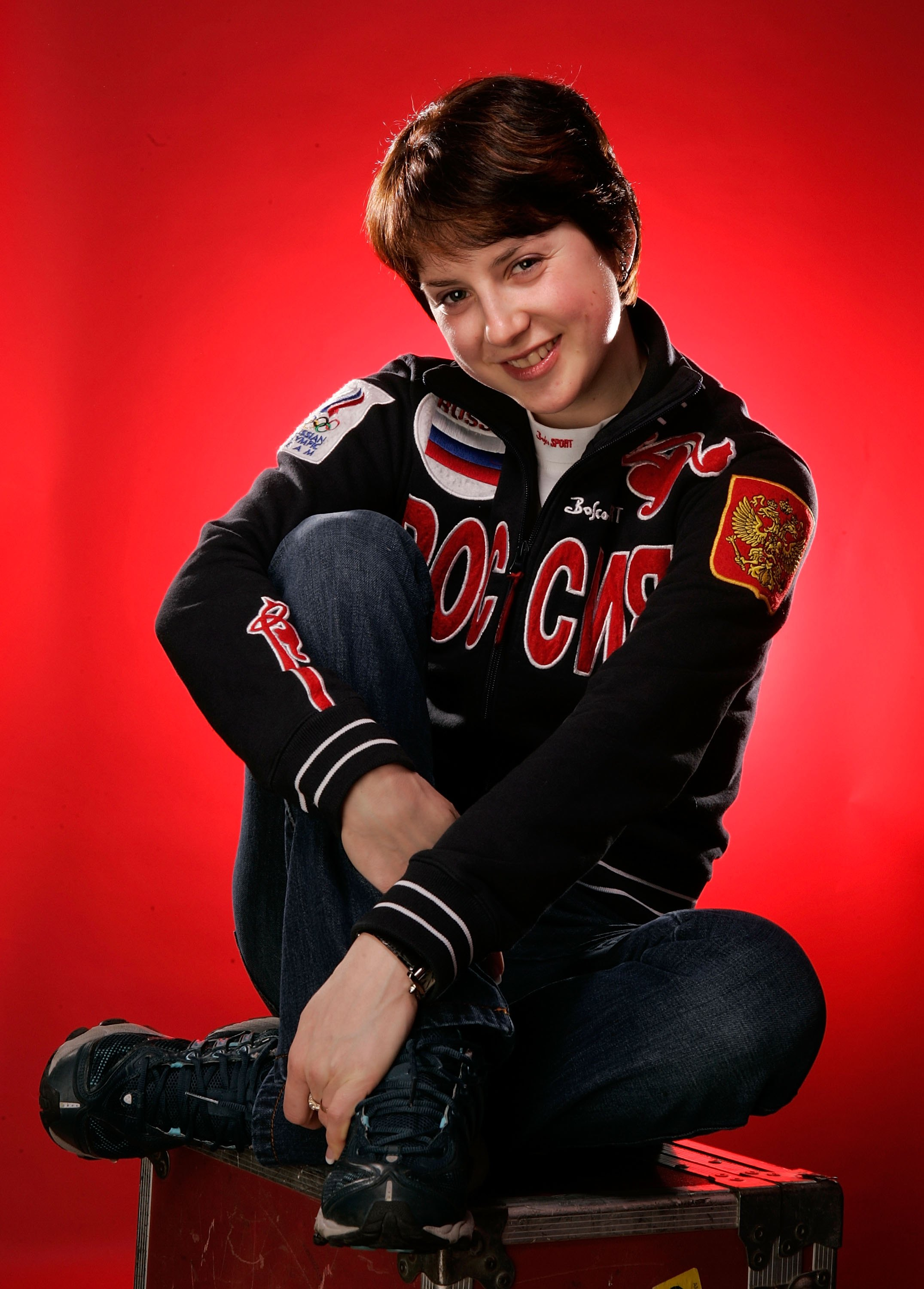 TURIN - FEBRUARY 24:  (US TV OUT)  Russian figure skater Irina Slutskaya poses for a photo after appearing on NBC's Today Show during the Turin 2006 Winter Olympic Games February 24, 2006 in Turin, Italy. Slutskaya won bronze in Women's figure skating.  (
