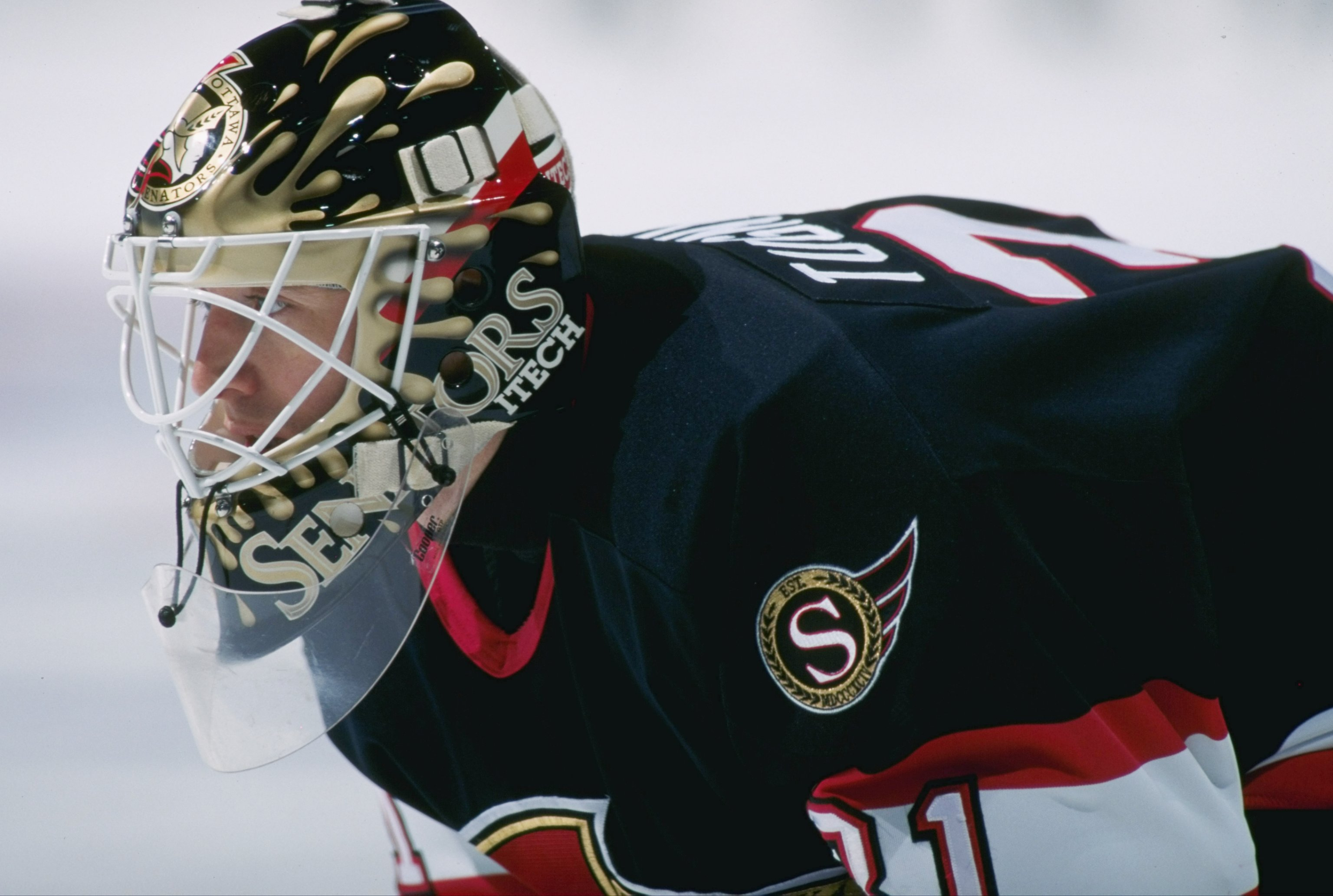 15 Mar 1997: Goaltender Ron Tugnutt of the Ottawa Senators looks on during a game against the Montreal Canadiens at The Forum in Montreal, Quebec. The game was a tie, 2-2.