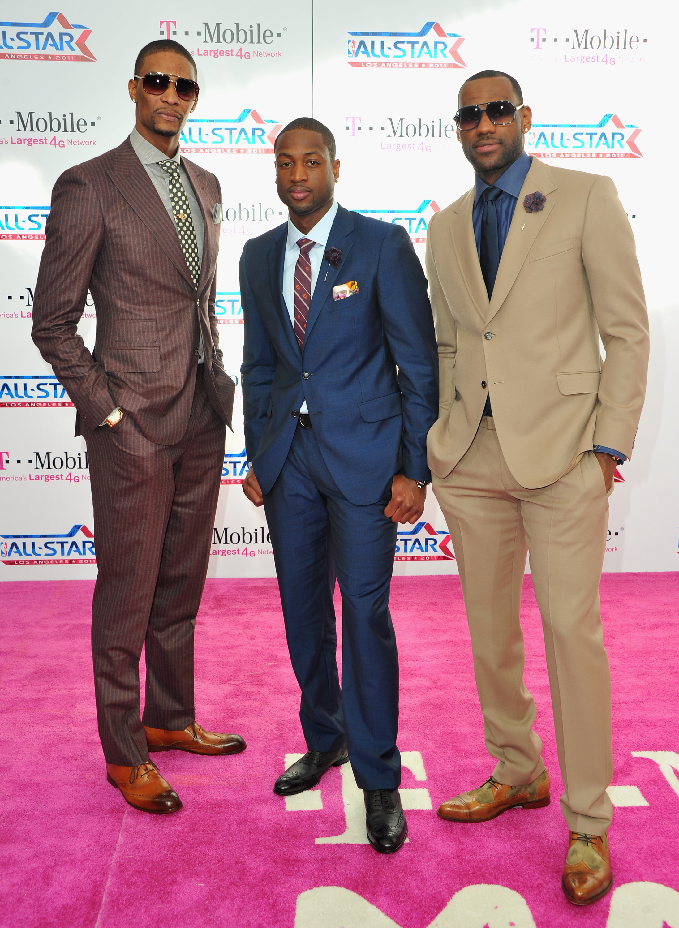 LOS ANGELES, CA - FEBRUARY 20:  NBA players Chris Bosh, Dwayne Wade and LeBron James arrive to the T-Mobile Magenta Carpet at the 2011 NBA All-Star Game on February 20, 2011 in Los Angeles, California.  (Photo by Alberto E. Rodriguez/Getty Images)