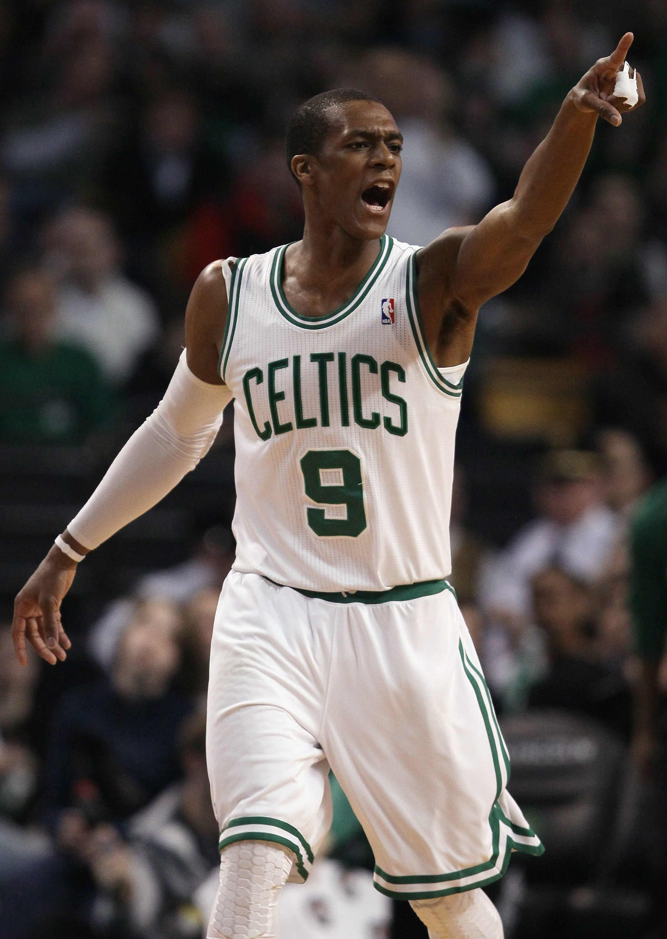BOSTON, MA - MARCH 04:  Rajon Rondo #9 of the Boston Celtics calls out to his teammates in the first half against the Golden State Warriors on March 4, 2011 at the TD Garden in Boston, Massachusetts.  NOTE TO USER: User expressly acknowledges and agrees t