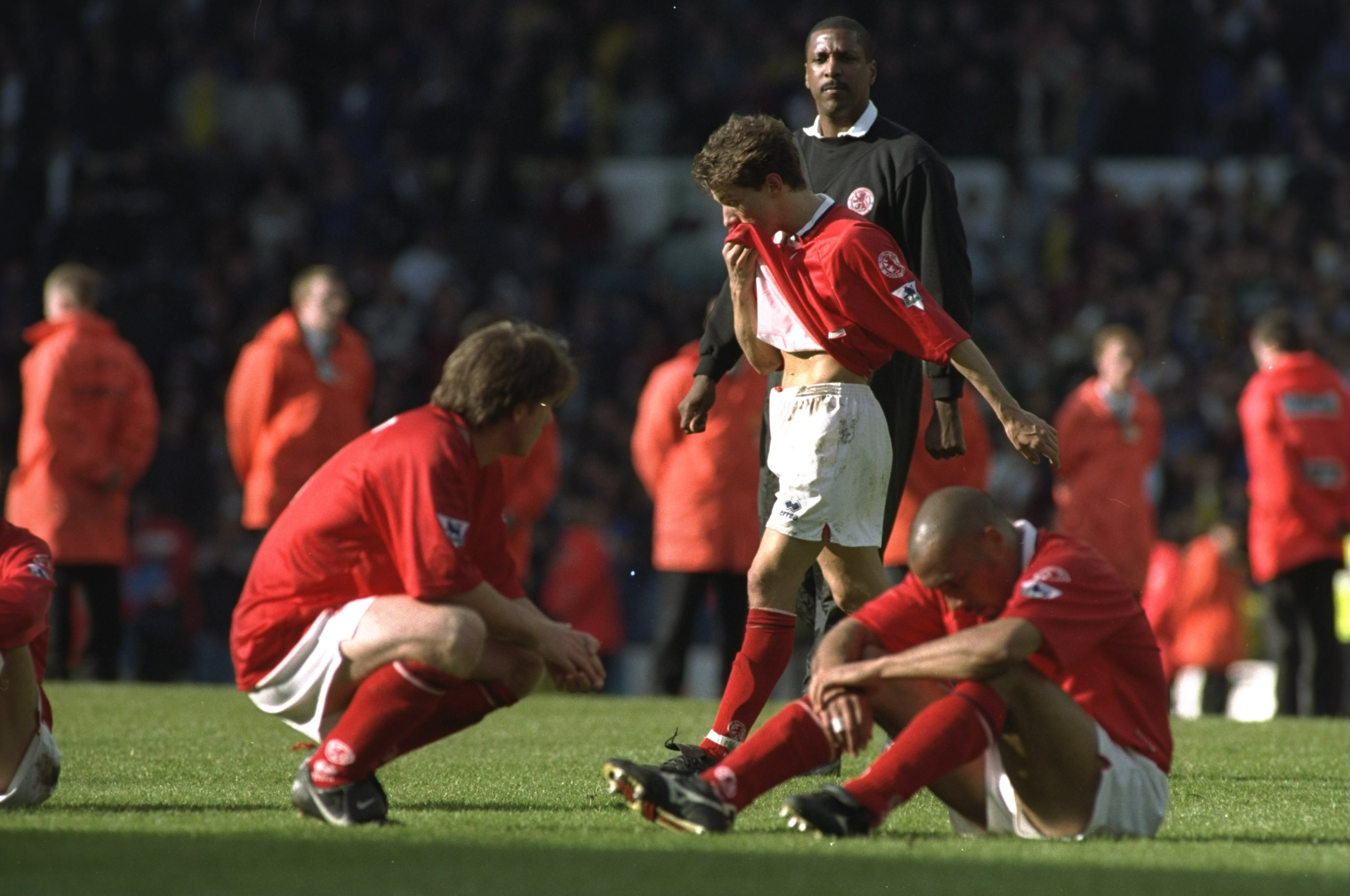 11 May 1997:  Craig Hignett (left), Juninho and Curtis Fleming (right) of Middlesbrough face relegation after the FA Carling Premier League  match against Leeds United at Elland Road in Leeds, England. The game was drawn 1-1. \ Mandatory Credit: Clive Bru
