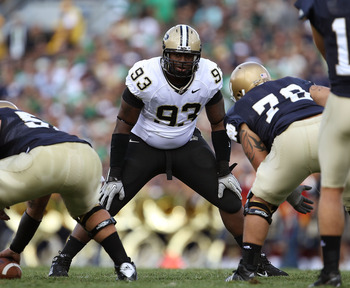 SOUTH BEND, IN - SEPTEMBER 04: Kawann Short #93 of the Purdue Boilermakers awaits the start of play against the Notre Dame Fighting Irish at Notre Dame Stadium on September 4, 2010 in South Bend, Indiana. Notre Dame defeated Purdue 23-12. (Photo by Jonath