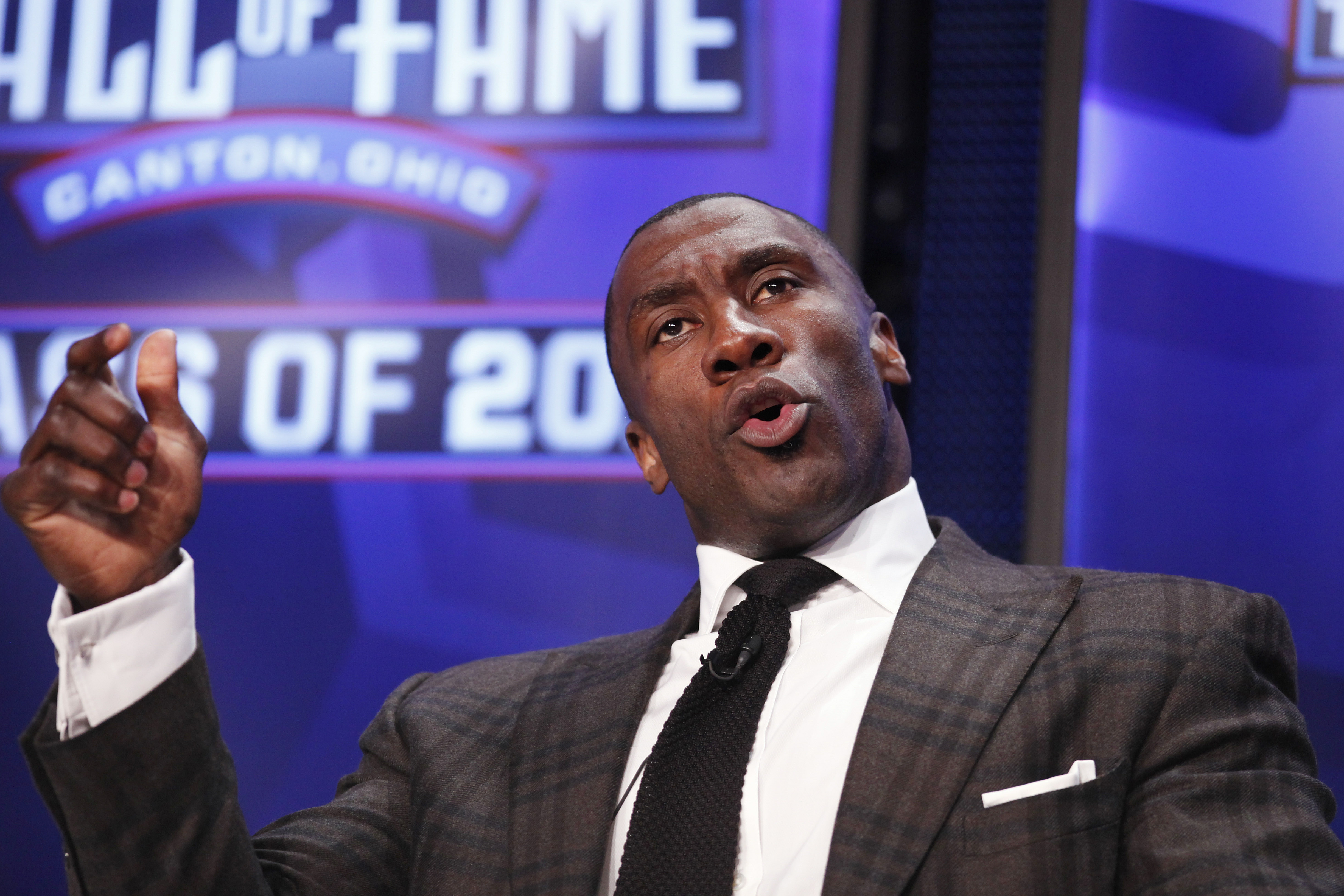 DALLAS, TX - FEBRUARY 5: Shannon Sharpe looks on after being inducted into the 2011 Pro Football Hall of Fame class during an announcement at the Super Bowl XLV media center on February 5, 2011 in Dallas, Texas. (Photo by Joe Robbins/Getty Images)