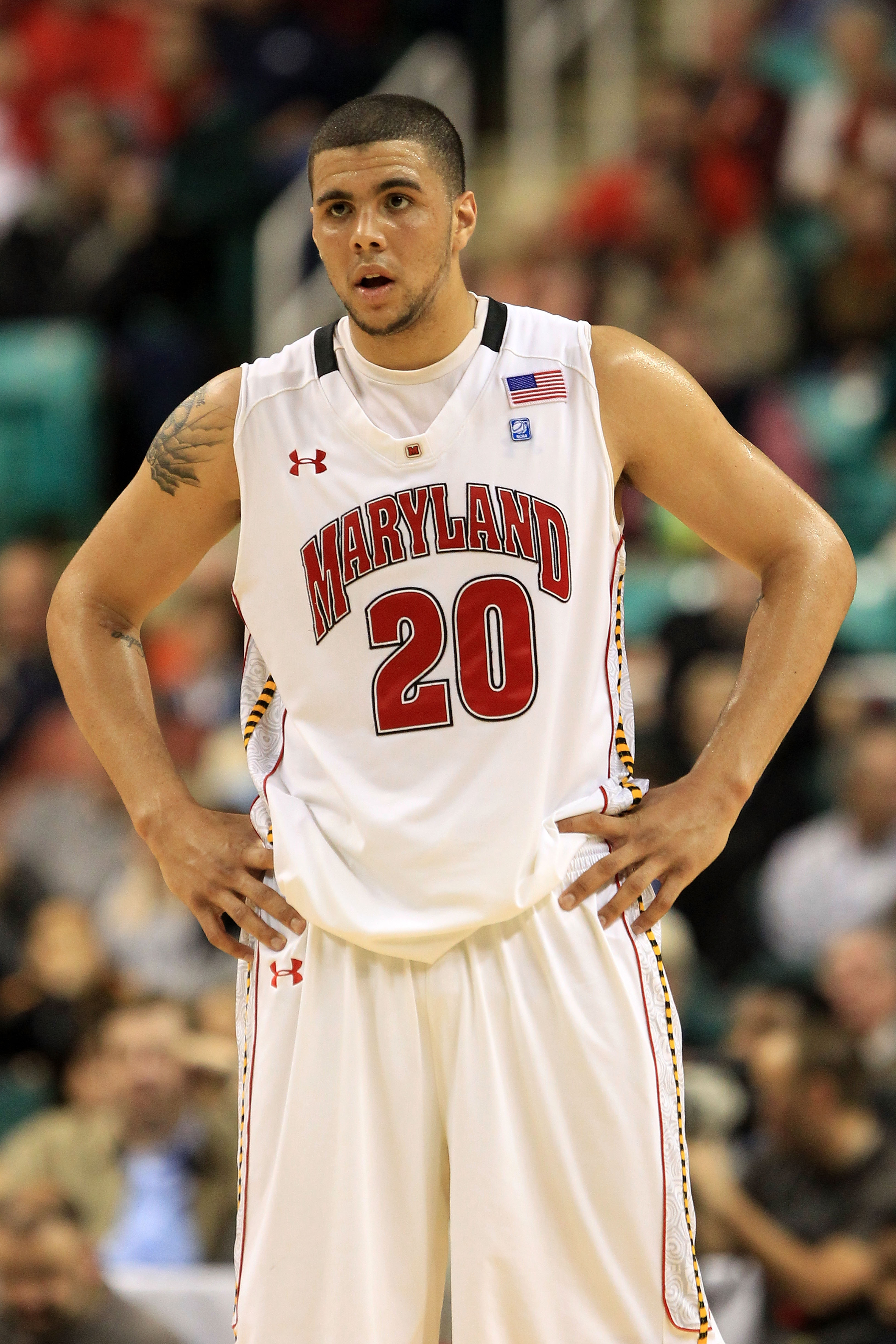GREENSBORO, NC - MARCH 10:  Jordan Williams #20 of the Maryland Terrapins looks on during the first half of the game against the North Carolina State Wolfpack in the first round of the 2011 ACC men's basketball tournament at the Greensboro Coliseum on Mar