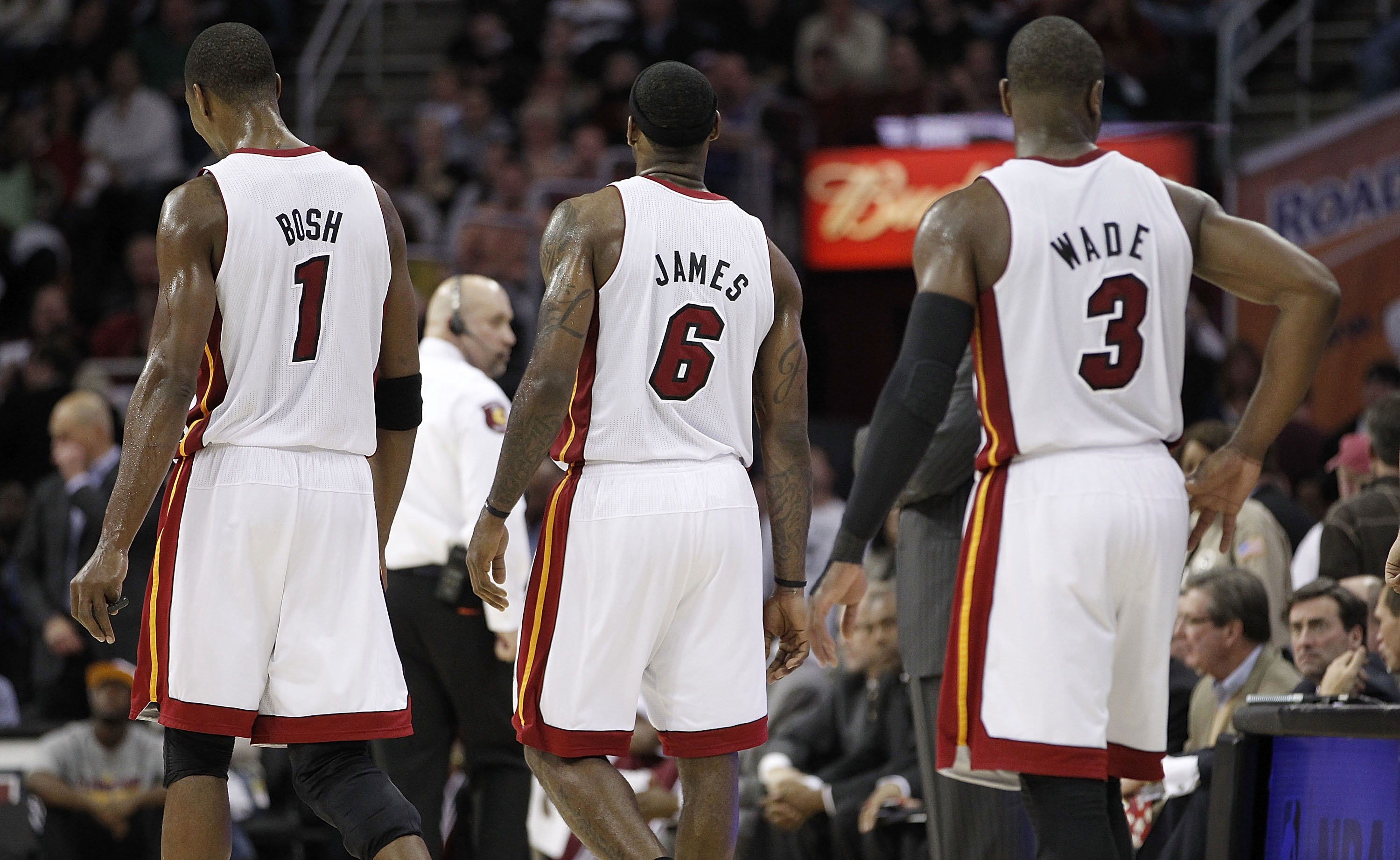 CLEVELAND, OH - DECEMBER 02:  LeBron James #6, Chris Bosh #1 and Dwyane Wade #3 of the Miami Heat walk onto the loor after a timeout while playing the Cleveland Cavaliers at Quicken Loans Arena on December 2, 2010 in Cleveland, Ohio. NOTE TO USER: User ex