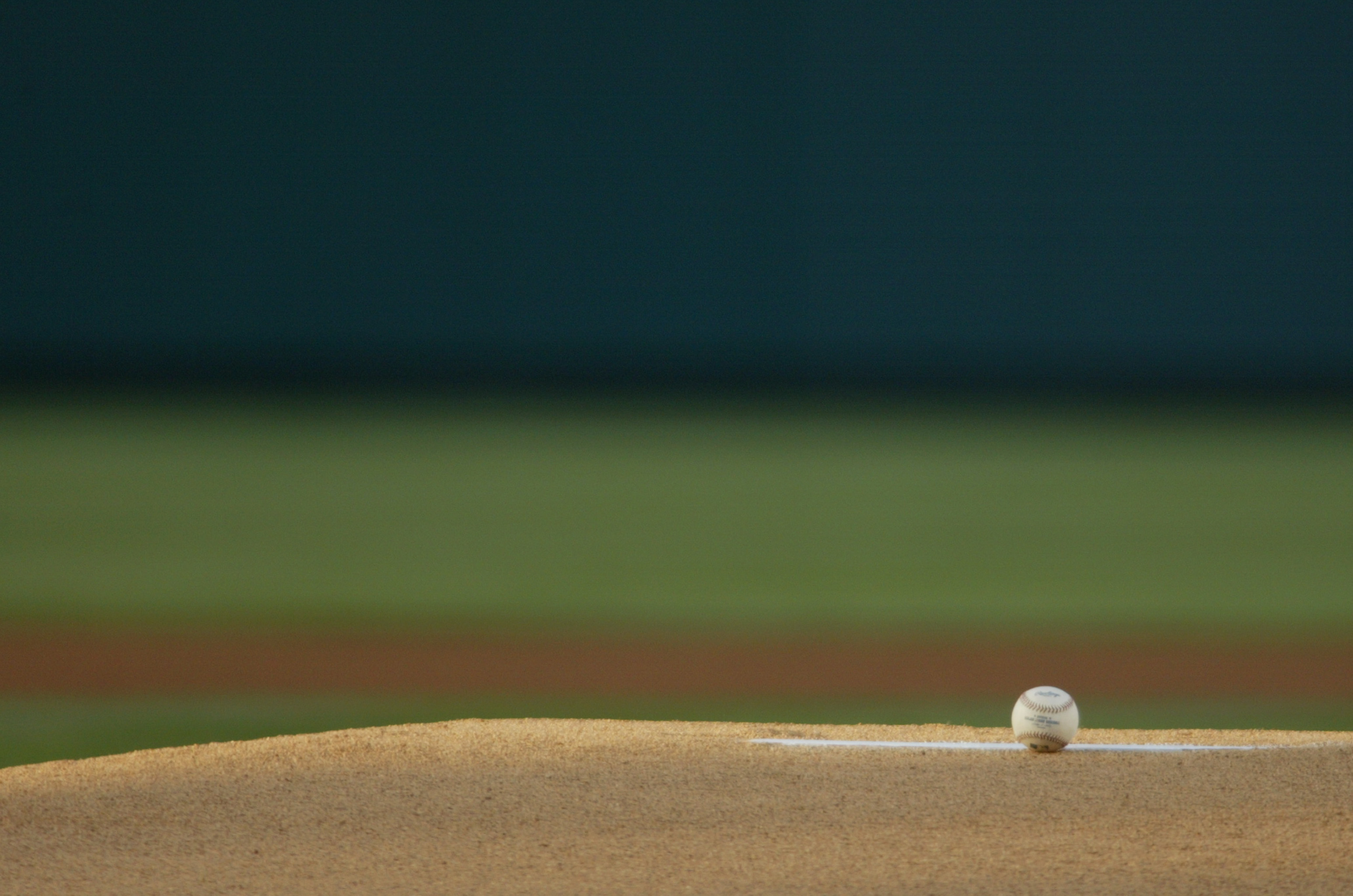 ANAHEIM, CA - JUNE 3:  The baseball rests on the pitcher's mound during the game between the Cleveland Indians and the Anaheim Angels at Angel Stadium on June 3, 2004 in Anaheim, California.  The Angels won 5-2.  (Photo by Lisa Blumenfeld/Getty Images)