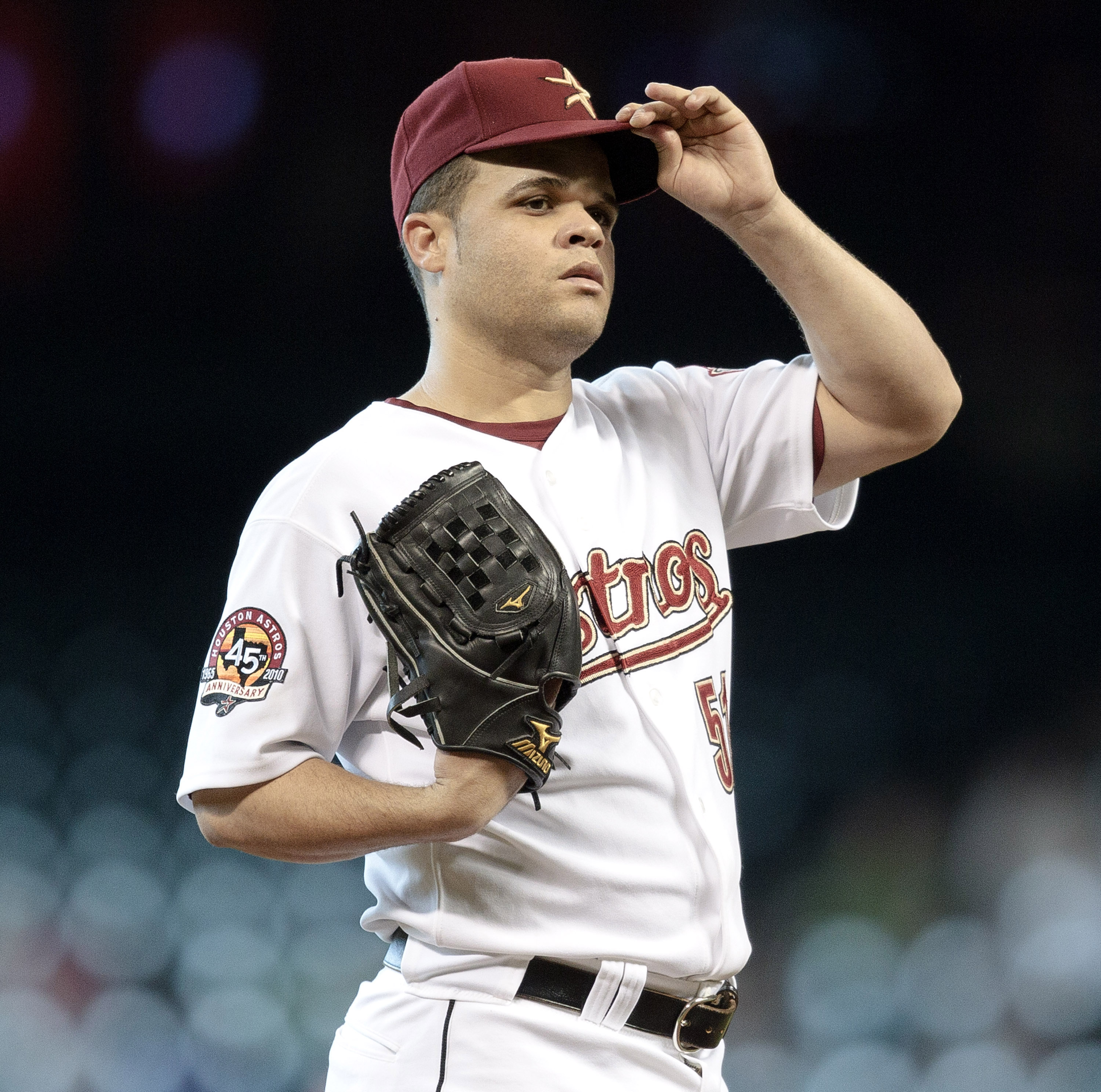 HOUSTON - JUNE 24:  Pitcher Wandy Rodriguez #51 of the Houston Astros in the first inning against the San Francisco Giants at Minute Maid Park on June 24, 2010 in Houston, Texas.  (Photo by Bob Levey/Getty Images)