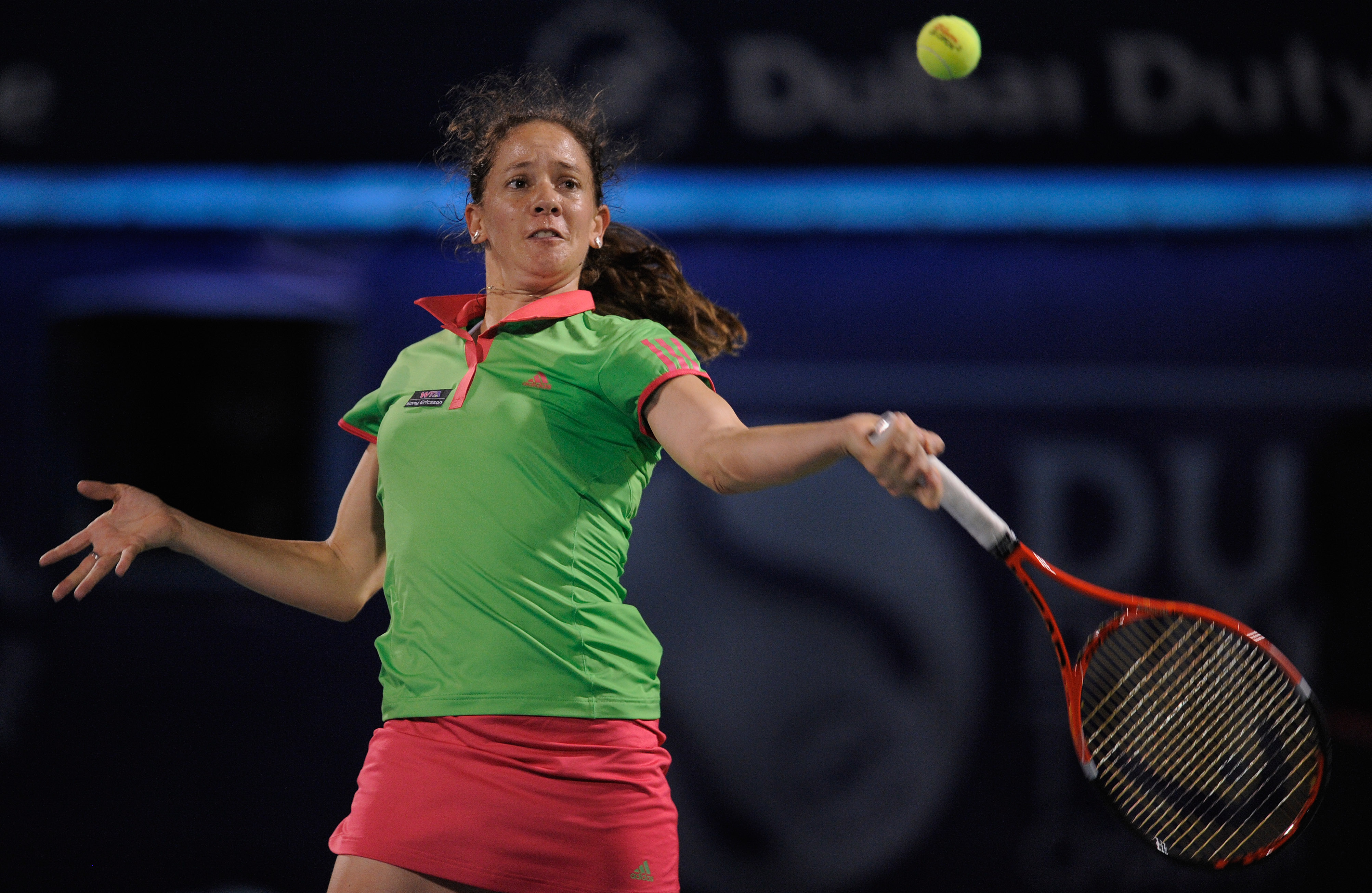 DUBAI, UNITED ARAB EMIRATES - FEBRUARY 15:  Patty Schnyder of Switzerland plays a shot during her Round 1 match against Ana Ivanovic of Serbia during day two of the WTA Dubai Duty Free Tennis Championships at the Dubai Tennis Stadium on February 15, 2011