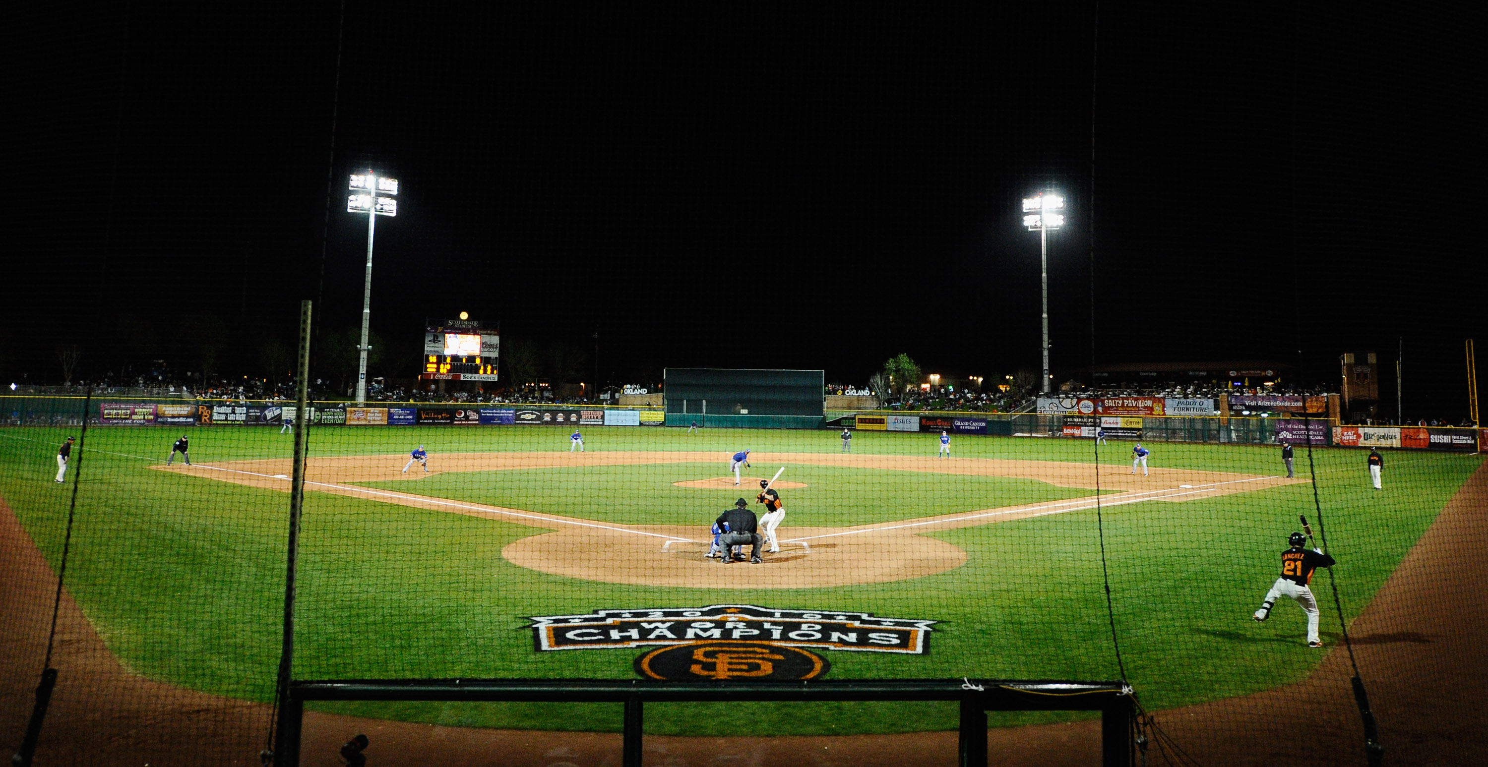 SCOTTSDALE, AZ - MARCH 07: San Francisco Giants take on the Texas Rangers in the first meeting between the two teams since the World Series during the spring training game at Scottsdale Stadium on March 7, 2011 in Scottsdale, Arizona.  (Photo by Kevork Dj