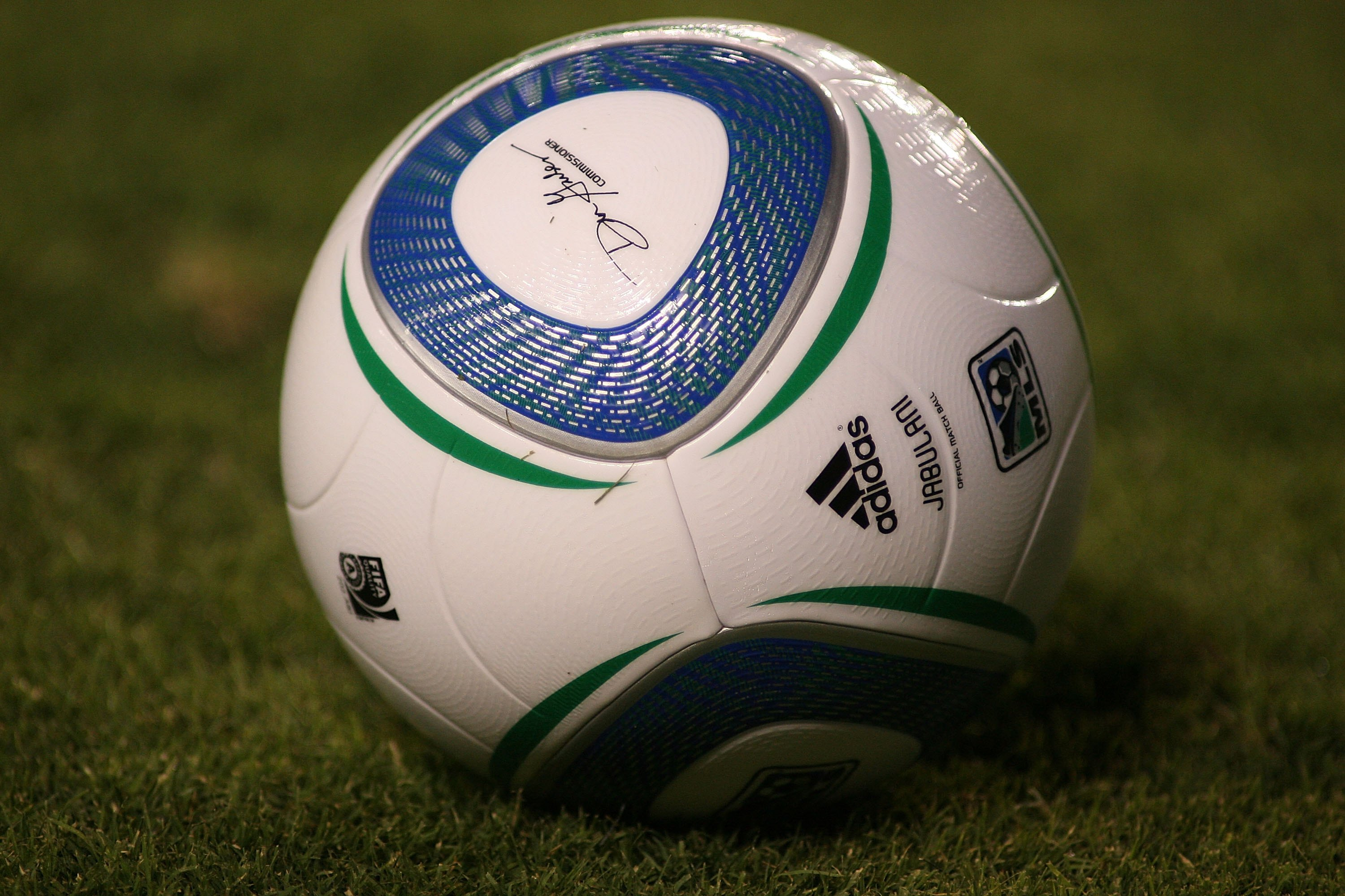 CARSON, CA - AUGUST 29:  Detail view of an Adidas Jabulani game ball on the field during the MLS match between D.C. United and Chivas USA on August 29, 2010 at the Home Depot Center in Carson, California. Chivas USA defeated D.C. United 1-0.  (Photo by Je