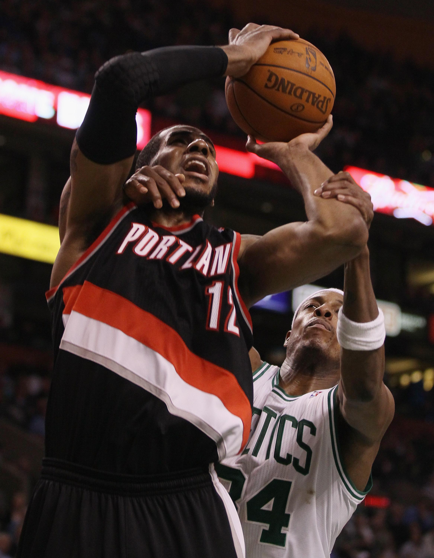 BOSTON - DECEMBER 01:  Paul Pierce #34 of the Boston Celtics fouls LaMarcus Aldridge #12 of the Portland Trailblazers on December 1, 2010 at the TD Garden in Boston, Massachusetts. The Celtics defeated the Trailblazers 99-95. NOTE TO USER: User expressly
