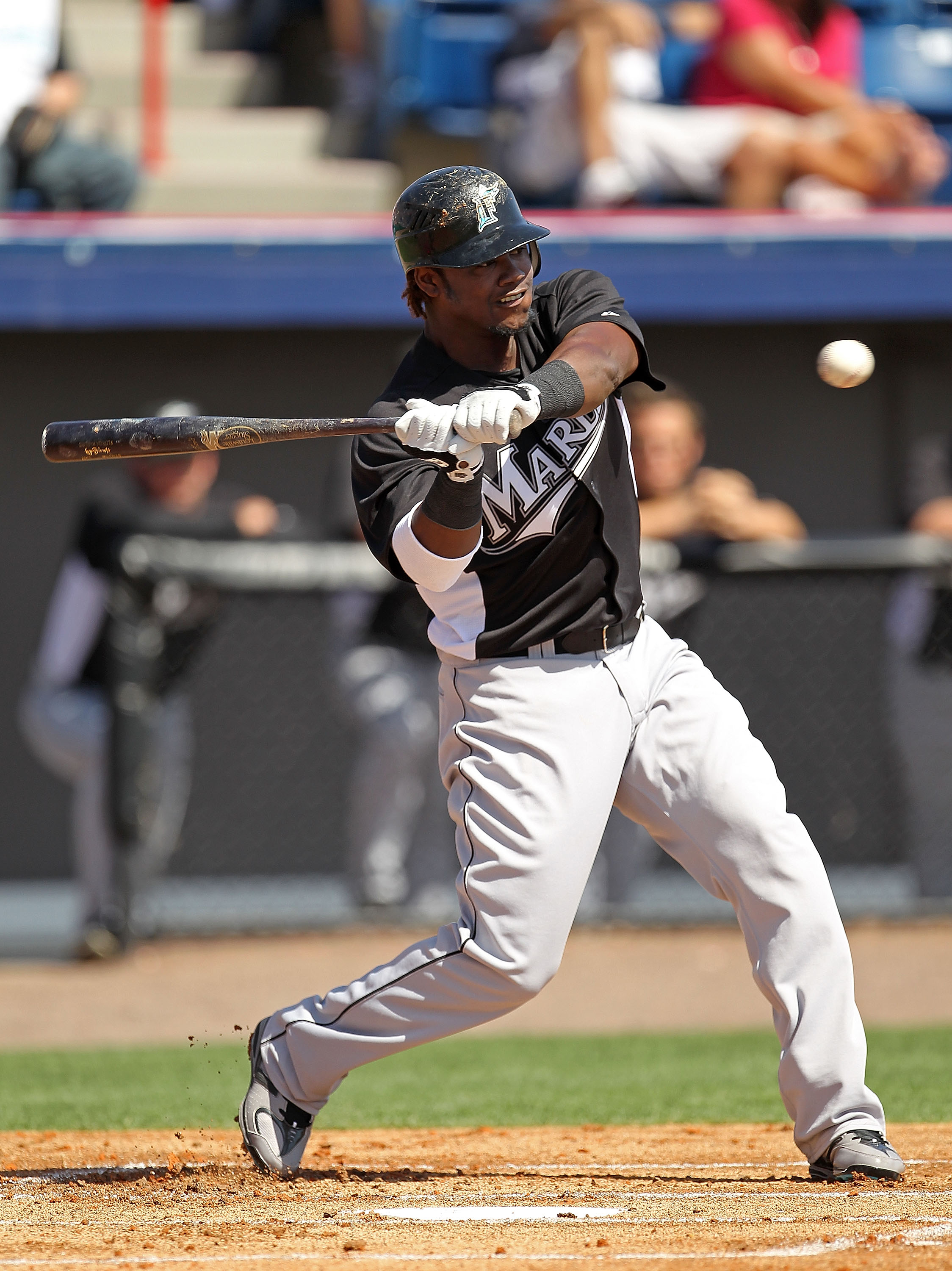 VIERA, FL - MARCH 02:  Hanley Ramirez #2 of the Florida Marlins bats during a Spring Training game against the Washington Nationals at Space Coast Stadium on March 2, 2011 in Viera, Florida.  (Photo by Mike Ehrmann/Getty Images)