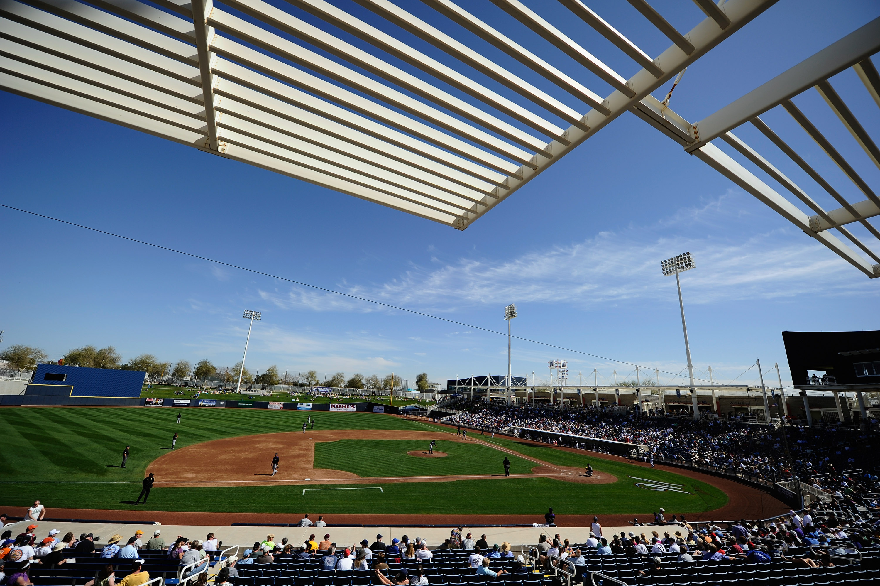 PHOENIX, AZ - MARCH 10:  Milwaukee Brewers and Colorado Rockies during the spring training baseball game at Maryvale Baseball Park on March 10, 2011 in Phoenix, Arizona.  (Photo by Kevork Djansezian/Getty Images)