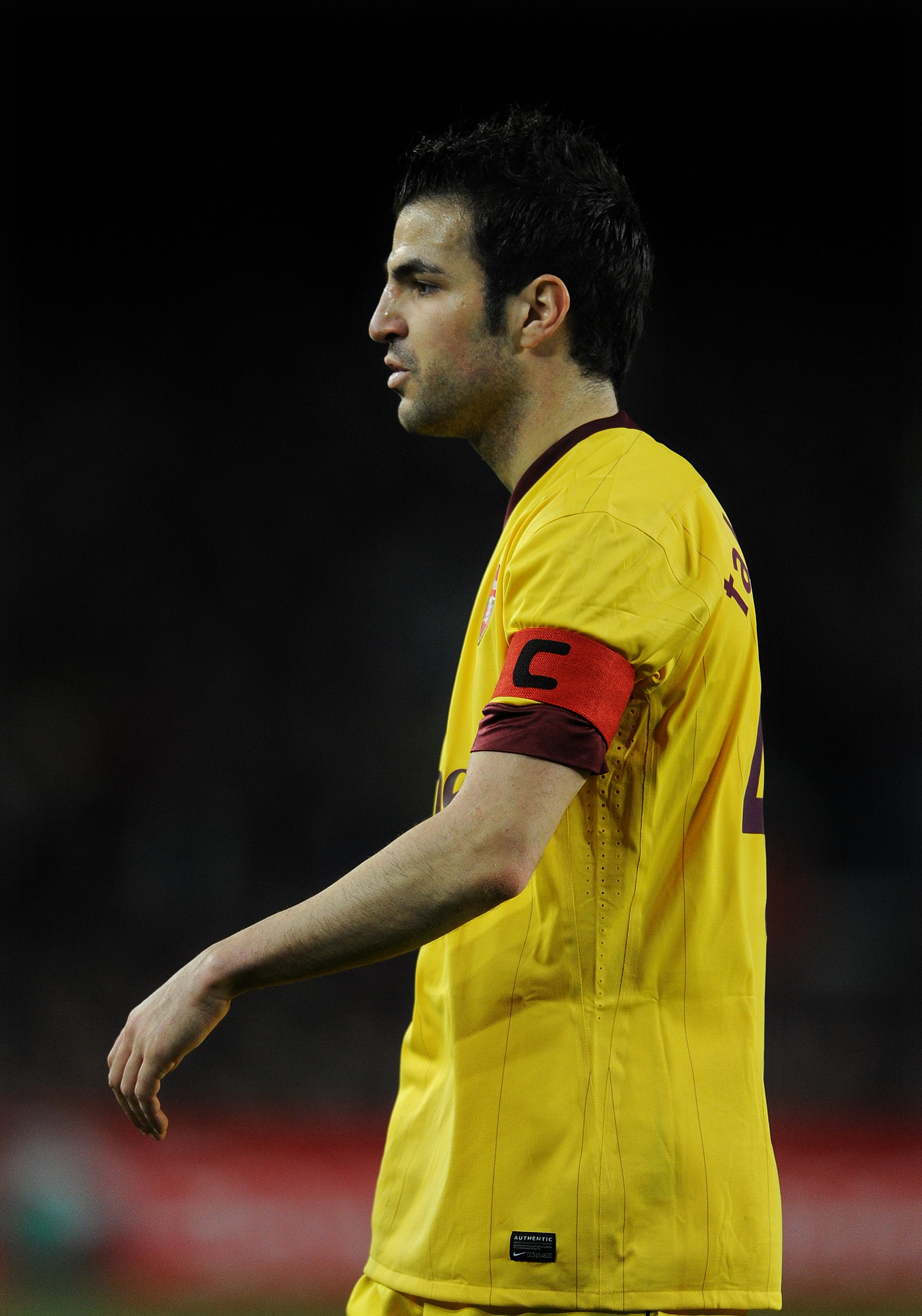 BARCELONA, SPAIN - MARCH 08:  Cesc Fabregas of Arsenal looks on during the UEFA Champions League round of 16 second leg match between Barcelona and Arsenal on March 8, 2011 in Barcelona, Spain.  (Photo by Jasper Juinen/Getty Images)