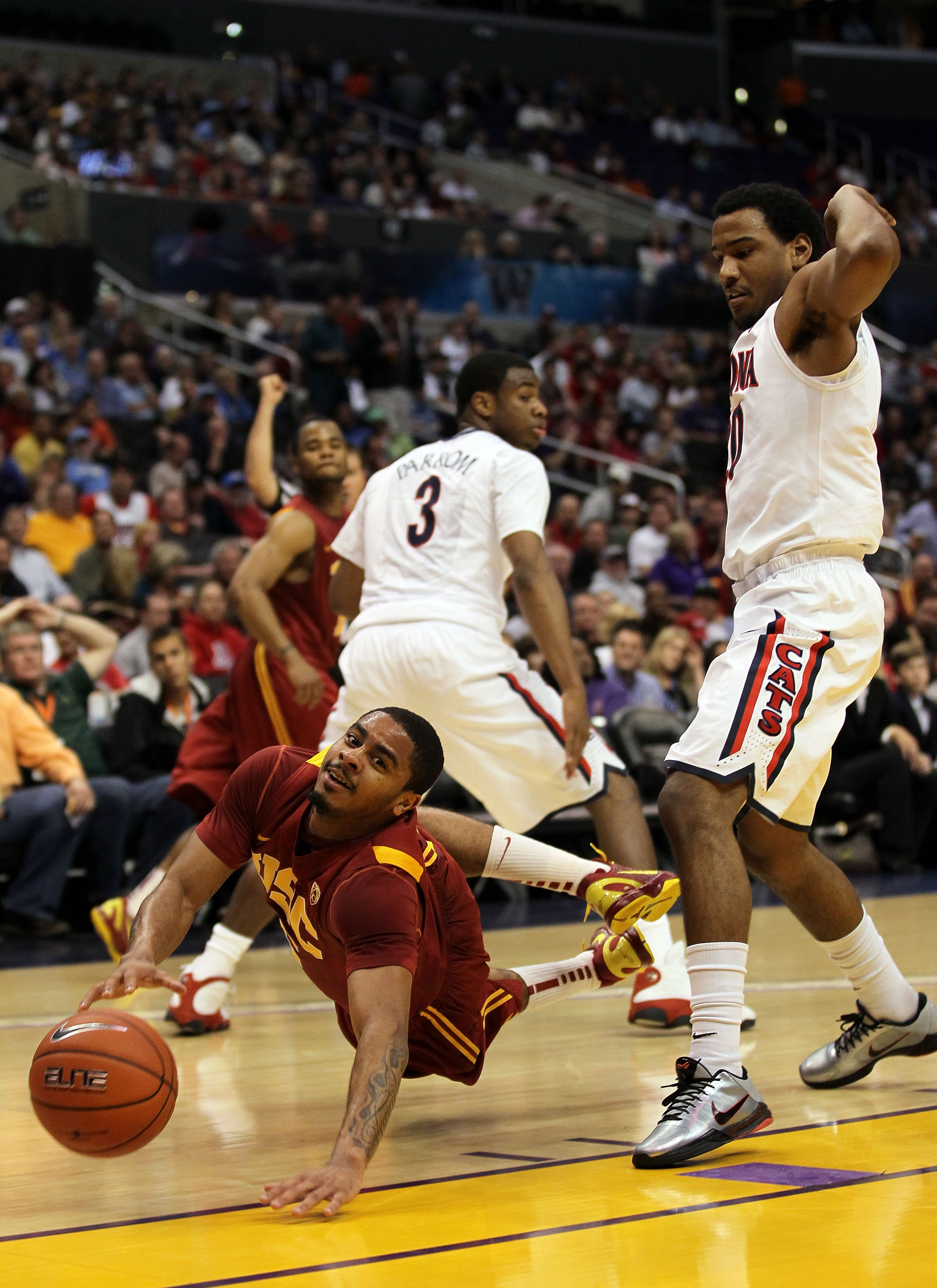 Jio Fontan battles for a loose ball. USC may have lost their battle for a bid.